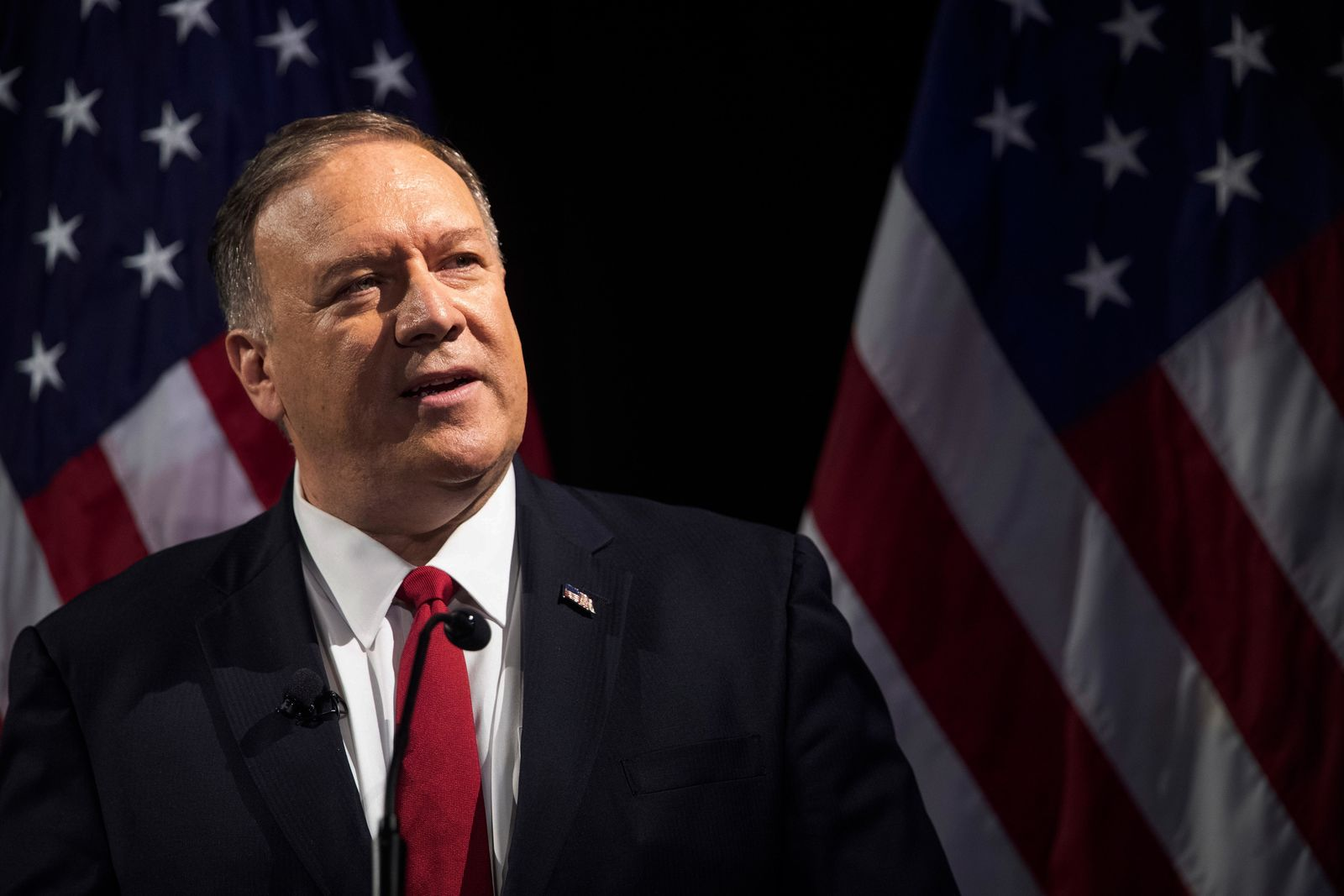 Secretary of State Mike Pompeo speaks during the Herman Kahn Award Gala, Wednesday, Oct. 30, 2019, in New York. Pompeo received the Hudson Institute's 2019 Herman Kahn Award. (AP Photo/Mary Altaffer)