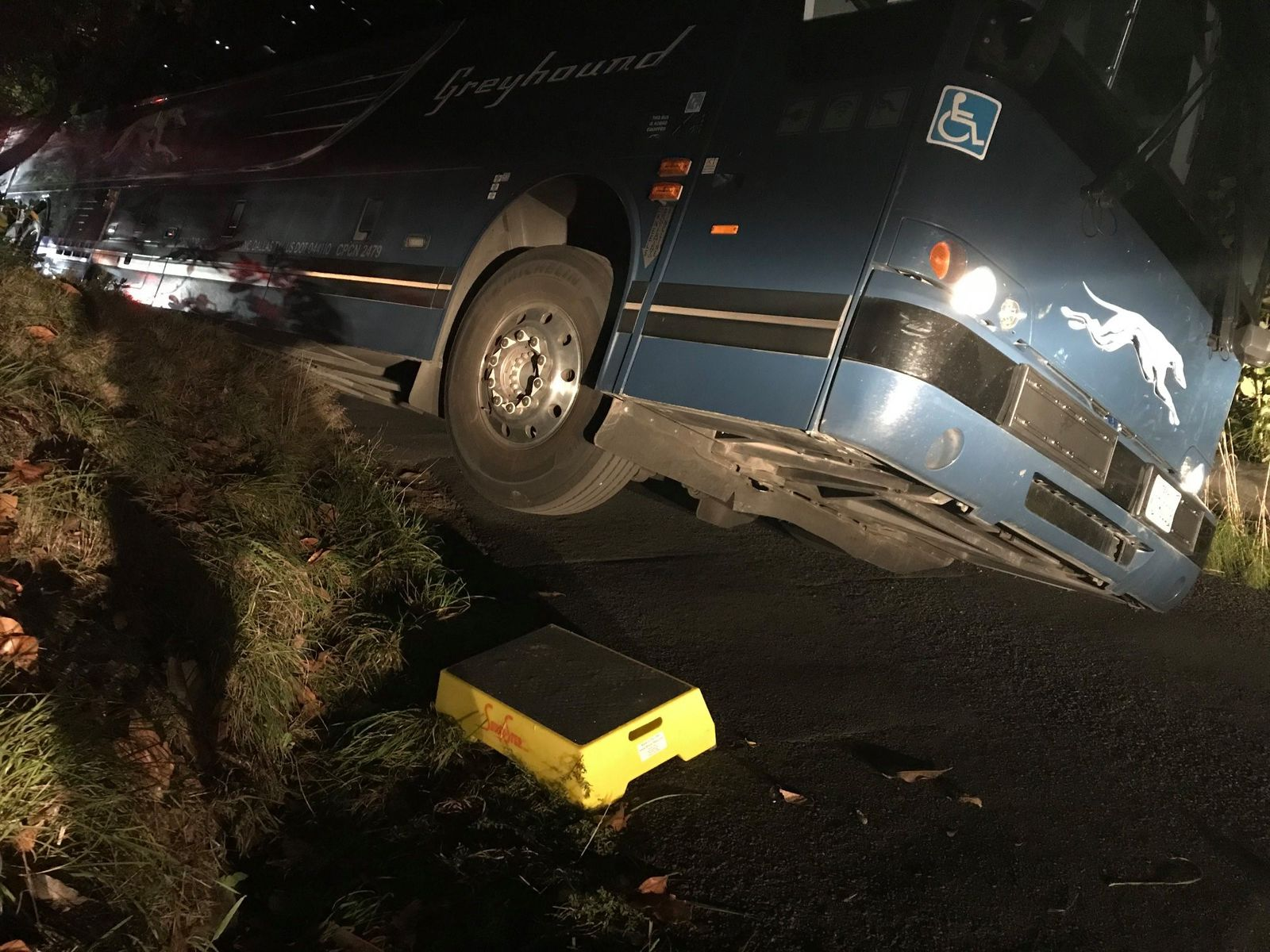 A driver high centered a Greyhound bus on a narrow street in Kelso on Oct. 9, 2019. Photo courtesy Kelso Police Department