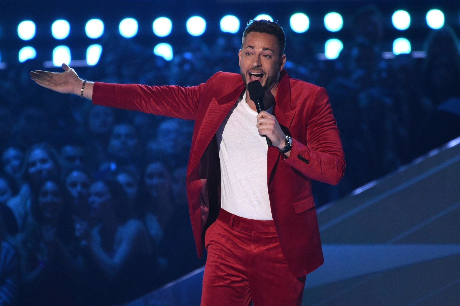 Host Zachary Levi speaks at the MTV Movie and TV Awards on Saturday, June 15, 2019, at the Barker Hangar in Santa Monica, Calif. (Photo by Chris Pizzello/Invision/AP)