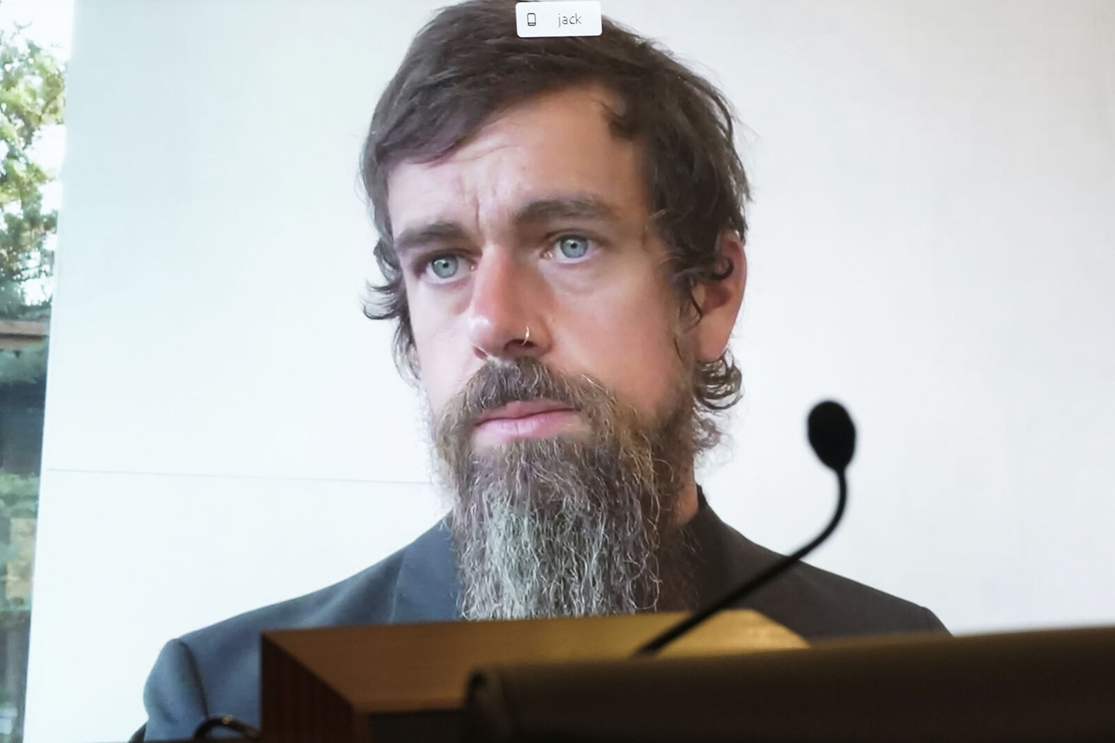 FILE - Twitter CEO Jack Dorsey appears on a screen as he speaks remotely during a hearing before the Senate Commerce Committee on Capitol Hill, Wednesday, Oct. 28, 2020, in Washington. (Greg Nash/Pool via AP)