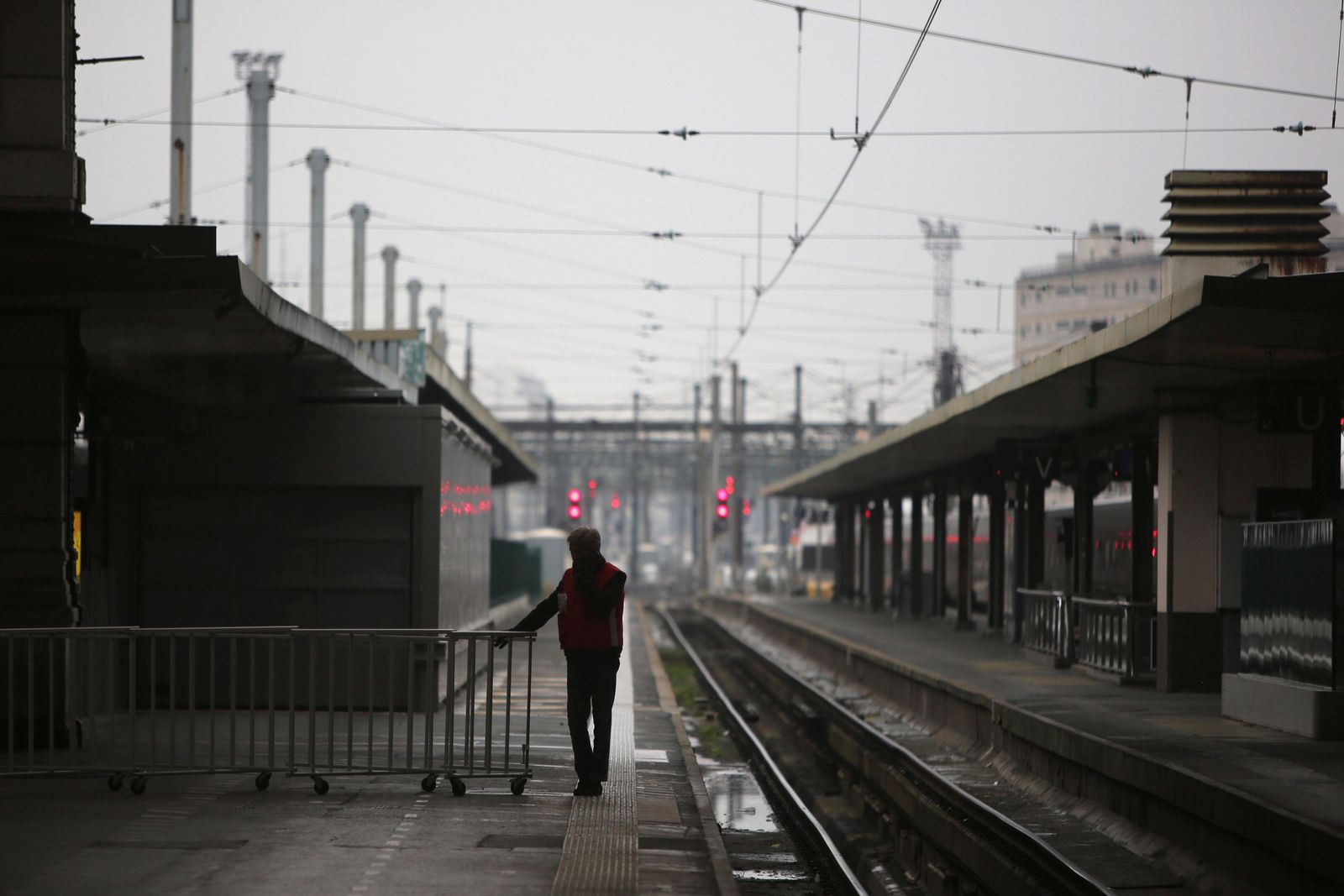 A man stands on a deserted platform at the Gare de Lyon train station, Friday, Dec. 6, 2019 in Paris.{ } (AP Photo/Rafael Yaghobzadeh)