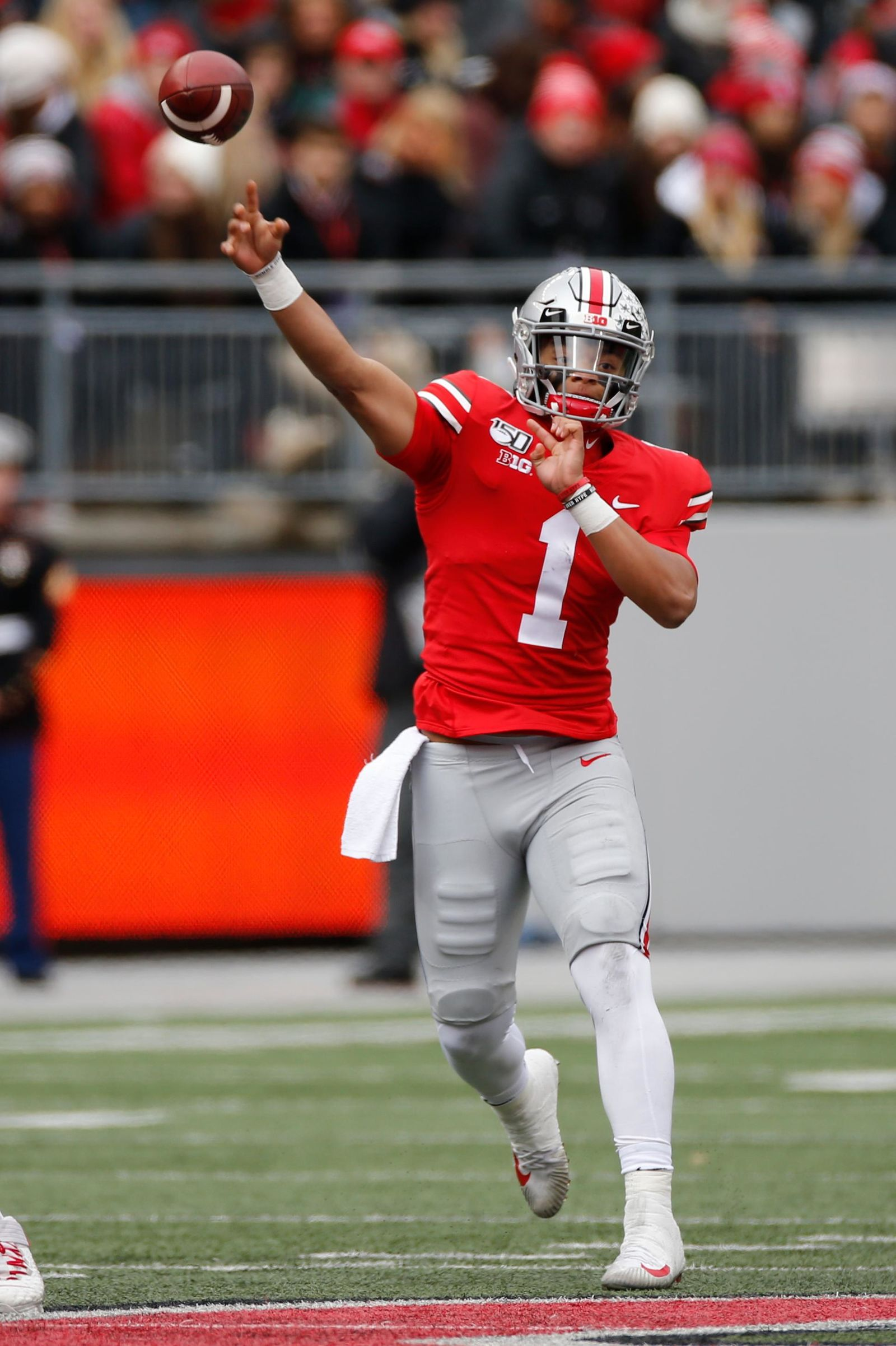 Ohio State quarterback Justin Fields throws a pass against Maryland during the first half of an NCAA college football game, Saturday, Nov. 9, 2019, in Columbus, Ohio. (AP Photo/Jay LaPrete)