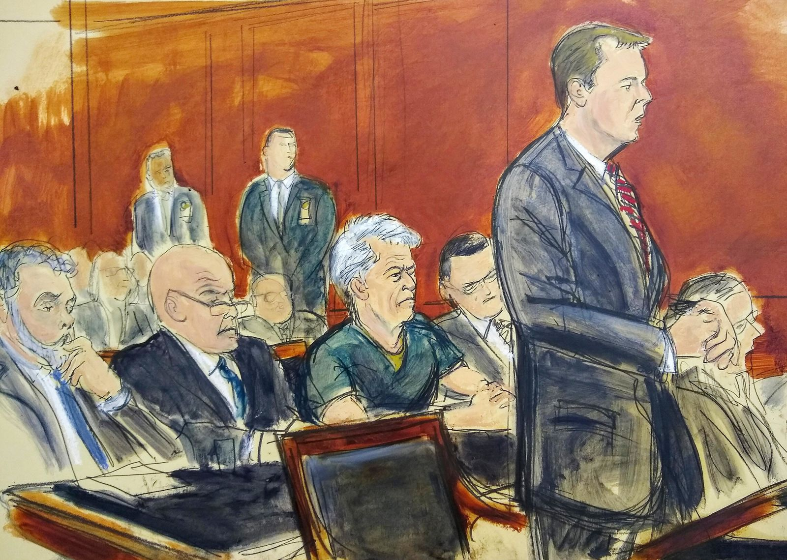 In this courtroom artist's sketch, defendant Jeffrey Epstein, center, listens as Assistant U.S. Attorney Alex Rossmiller, right, addresses the court during Epstein's arraignment, Monday, July 8, 2019 in New York. Epstein pleaded not guilty to federal sex trafficking charges. (Elizabeth Williams via AP)