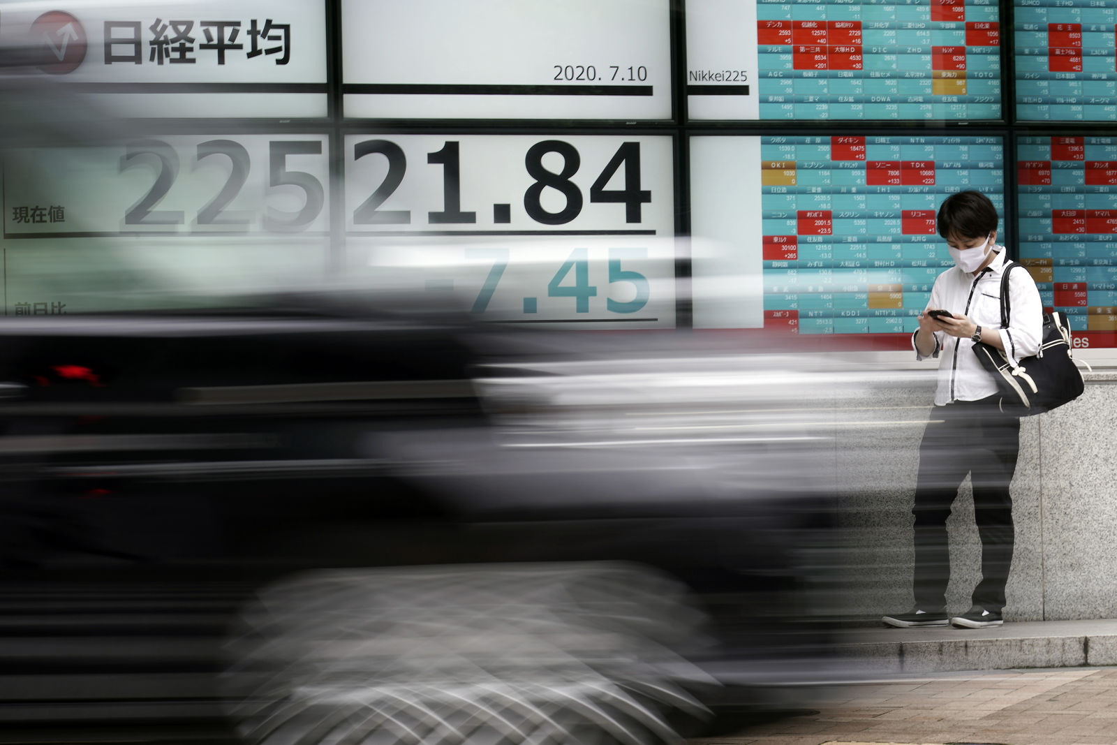 A man stands near an electronic stock board showing Japan's Nikkei 225 index at a securities firm as a car passing bay in Tokyo Friday, July 10, 2020.{ } (AP Photo/Eugene Hoshiko)