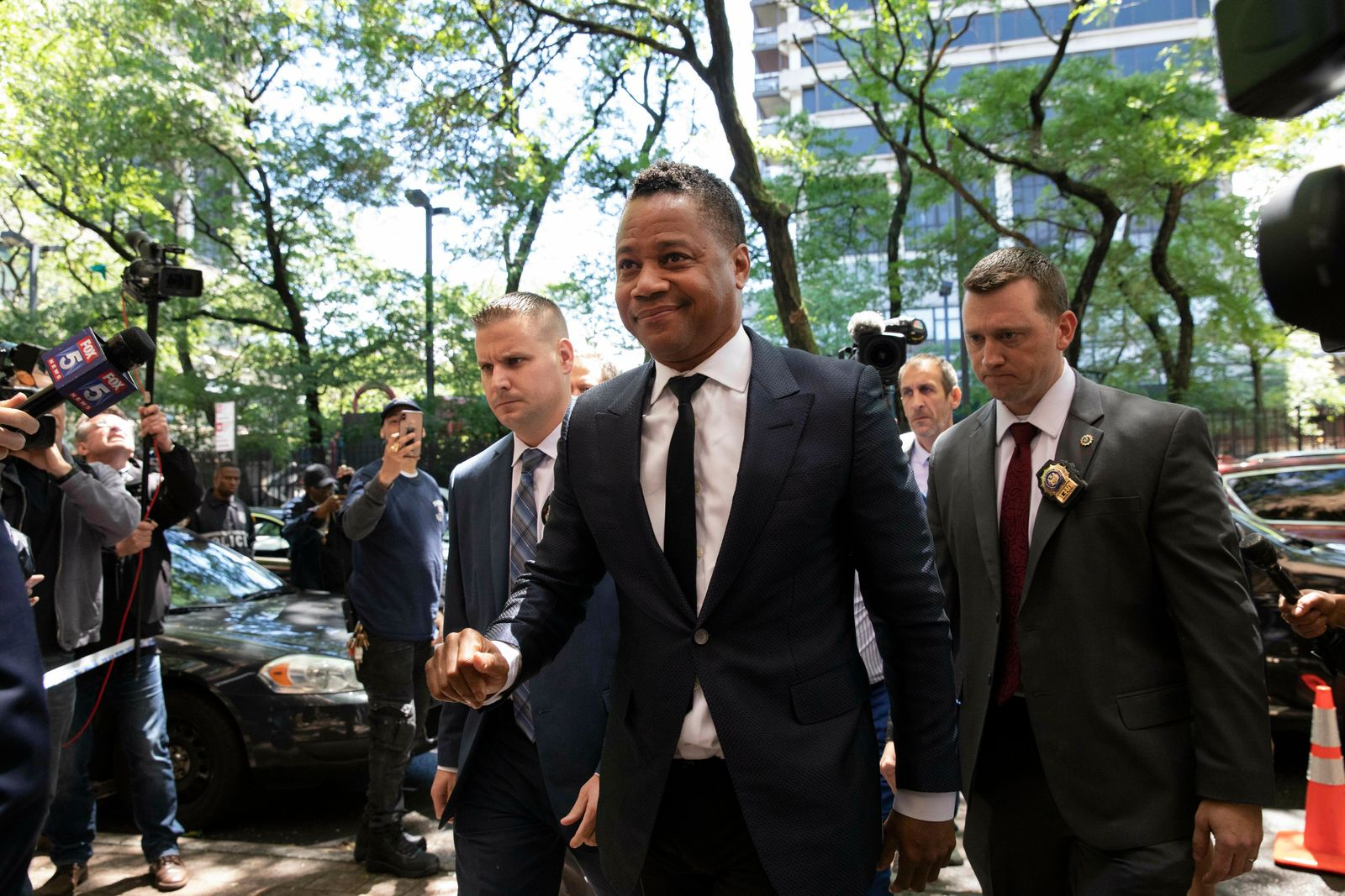 Actor Cuba Gooding Jr. arrives at the New York Police Department's Special Victim's Unit, Thursday, June 13, 2019 to face allegations he groped a woman at a city night spot. (AP Photo/Mark Lennihan)