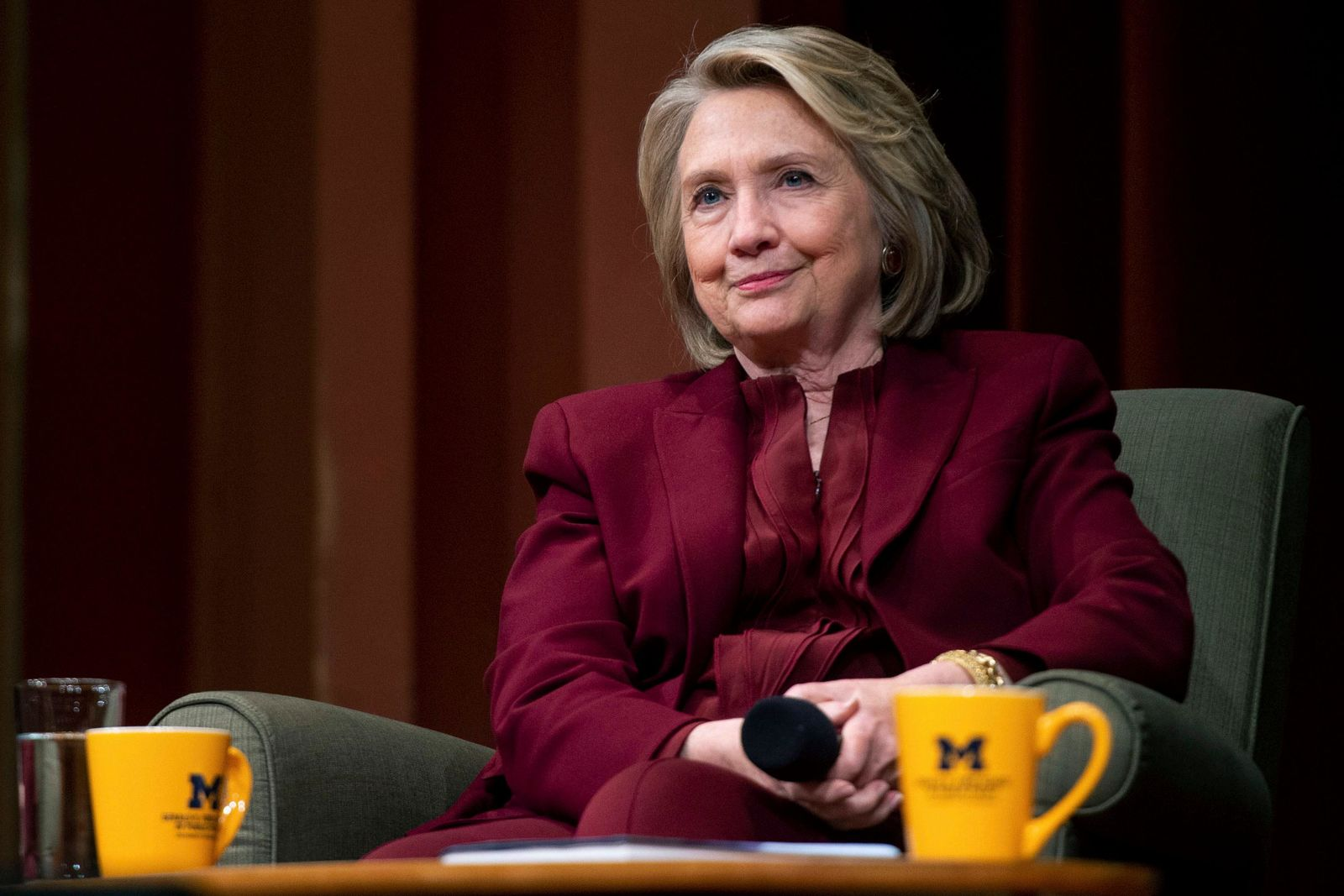 Hillary Clinton lectures on foreign policy at Rackham Auditorium, Thursday, Oct. 10, 2019 in Ann Arbor, Mich.(Jacob Hamilton/Ann Arbor News via AP)