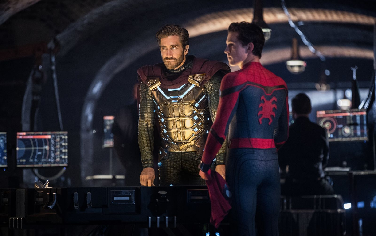 Jake Gyllenhaal and Tom Holland star in Columbia Pictures' SPIDER-MAN: ™ FAR FROM HOME.{ }(Photo: Sony)