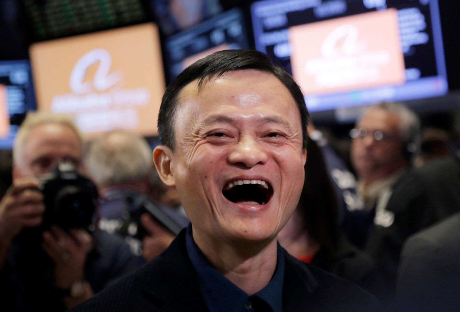 FILE - In this Sept. 19, 2014, file photo, Jack Ma, founder of Alibaba, smiles during the company's IPO at the New York Stock Exchange in New York. (AP Photo/Mark Lennihan, File)