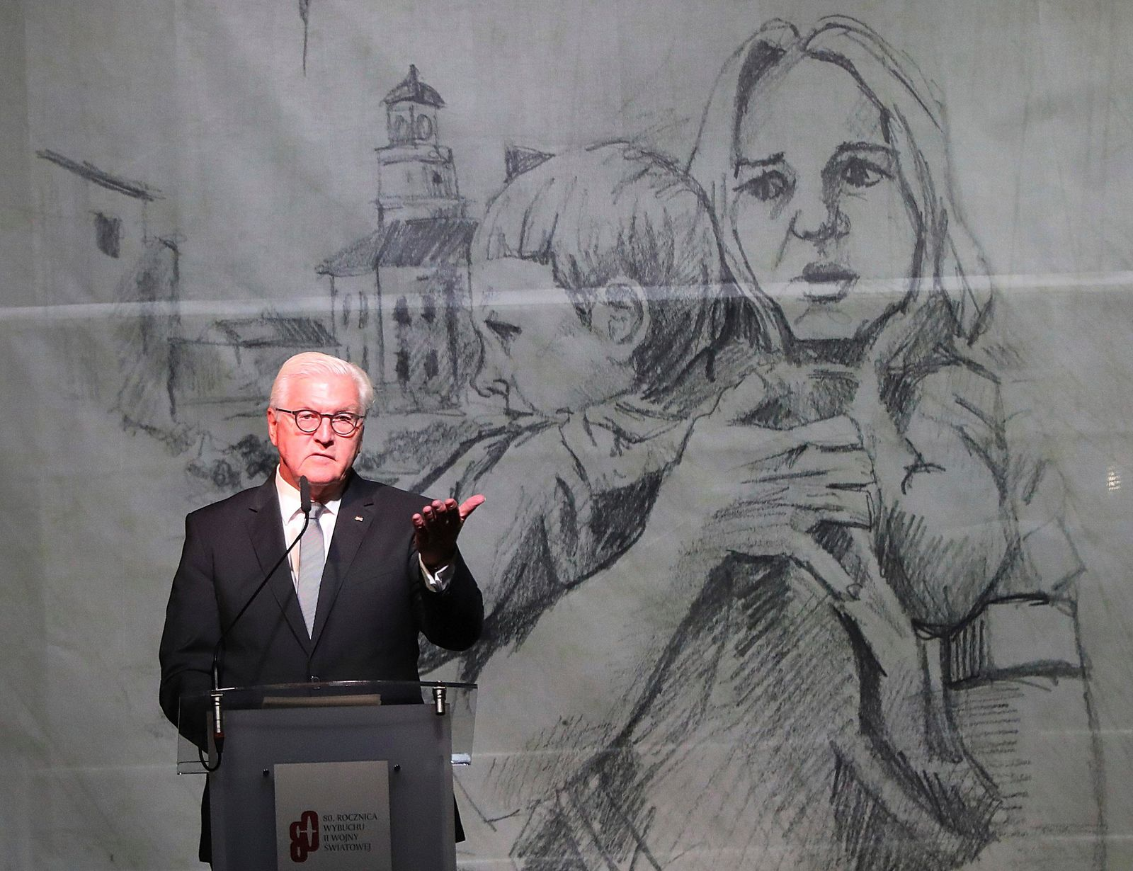 German President Frank-Walter Steinmeier speaks at the commemoration ceremony  of the 80th anniversary of the start of World War II, in Wielun, Poland, Sunday, Sept. 1, 2019. (AP Photo/Czarek Sokolowski)