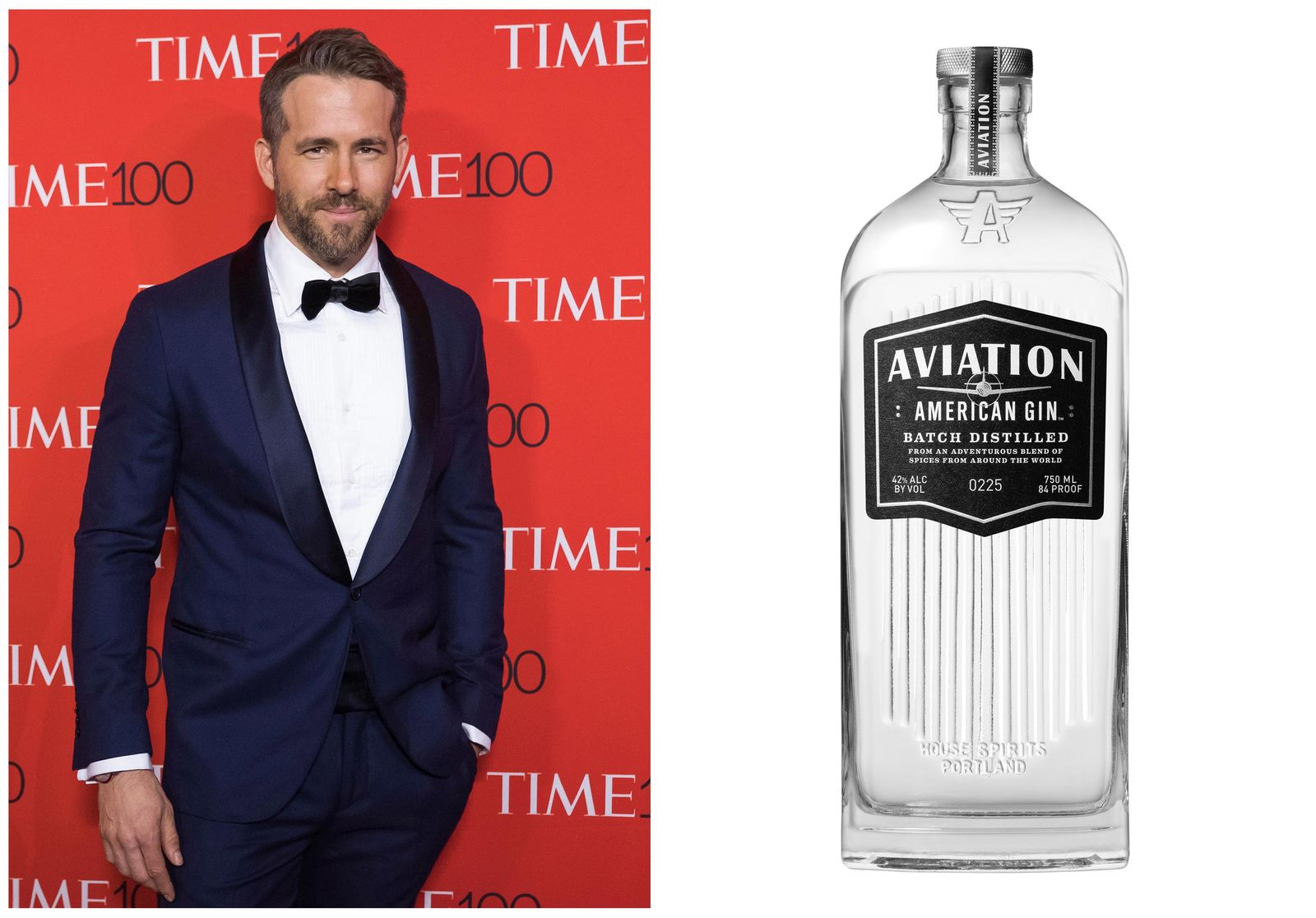 This combination photo shows Ryan Reynolds attending the TIME 100 Gala in New York on April 25, 2017, left, and a bottle of his Aviation American Gin. (AP Photo, left, and Aviation via AP)