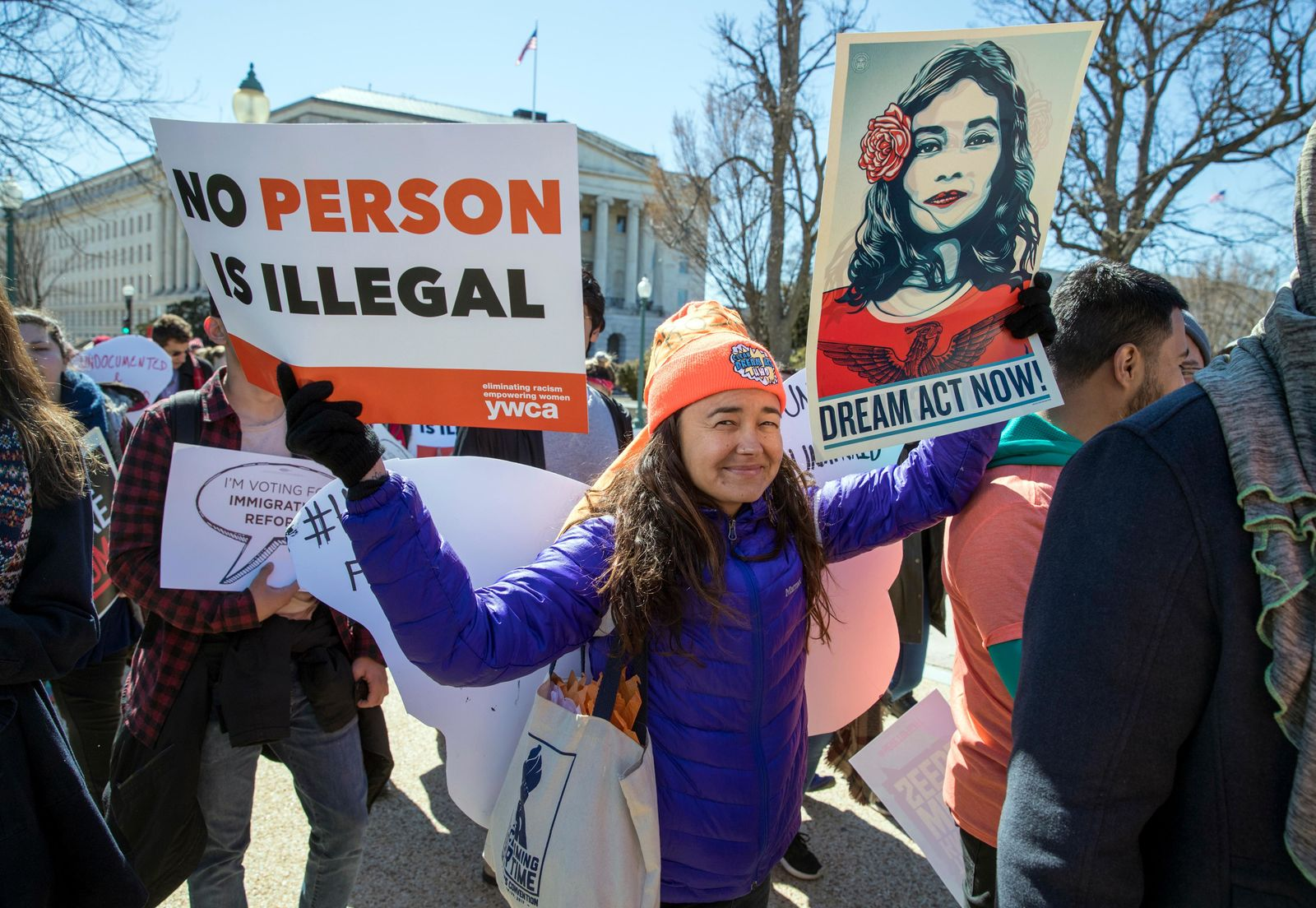 Deferred Action for Childhood Arrivals (DACA) recipients and other young immigrants march with supporters as they arrive at the Capitol in Washington, Monday, March 5, 2018. (AP Photo/J. Scott Applewhite)