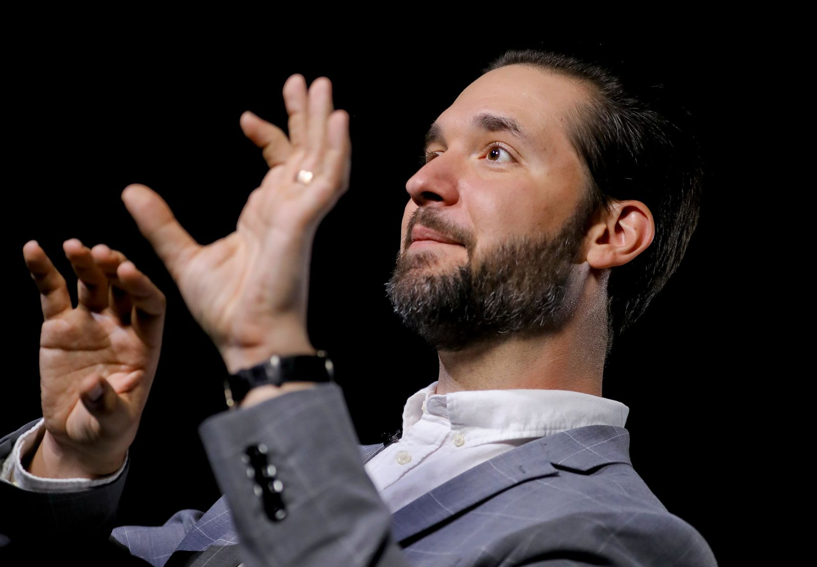 In this Tuesday Feb. 19, 2019, photo Alexis Ohanian, founder of the social media company Reddit, speaks during an interview in New York. (AP Photo/Bebeto Matthews)