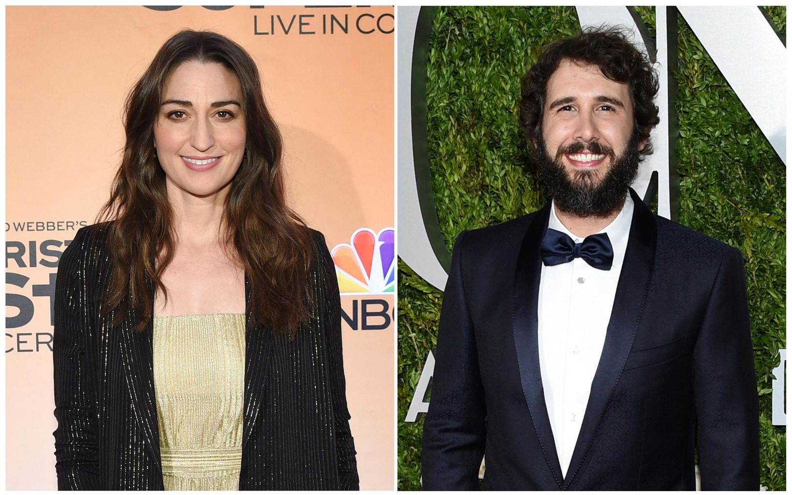 "FILE - This combination of file photos shows Sara Bareilles, left, on Feb. 27, 2018 during a press junket for ""Jesus Chris Superstar Live in Concert"" in New York and Josh Groban arriving at the 71st annual Tony Awards on June 11, 2017, in New York. (AP Photos/Evan Agostini, File)"