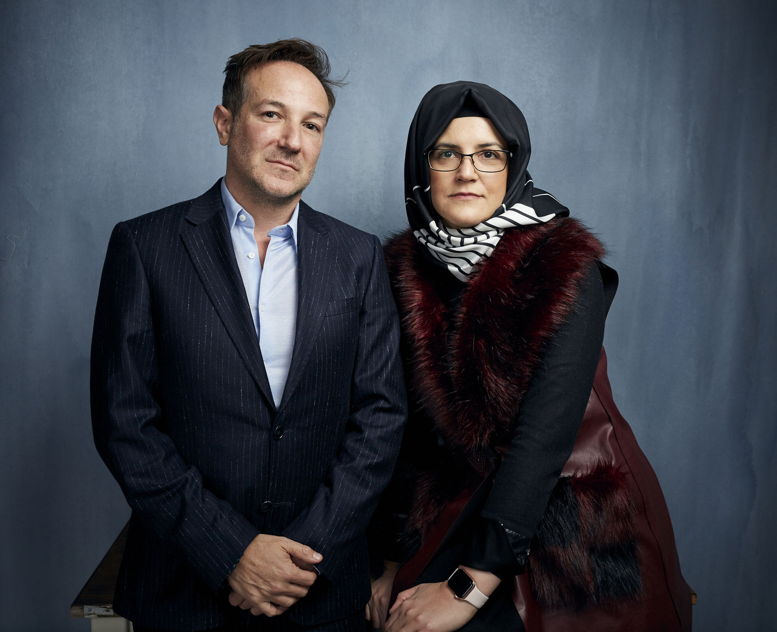 "Director Bryan Fogel, left, and Hatice Cengiz pose for a portrait to promote the film ""The Dissident"" at the Music Lodge during the Sundance Film Festival on Friday, Jan. 24, 2020, in Park City, Utah. (Photo by Taylor Jewell/Invision/AP)"