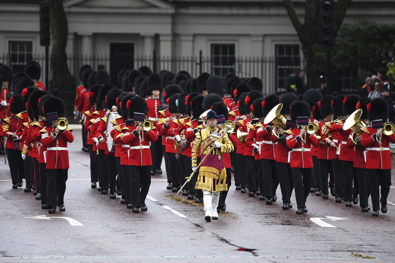 Members of the armed forces march along The Mall ahead of the State Opening of Parliament ceremony in London, Monday, Oct. 14, 2019. (AP Photo/Alberto Pezzali)