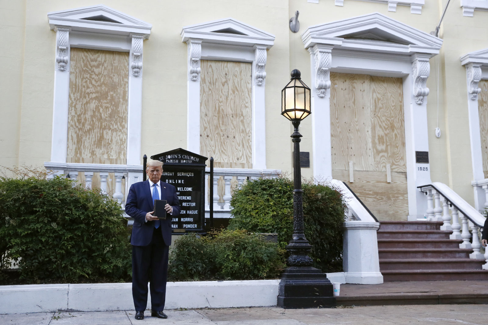 President Donald Trump holds a Bible as he visits outside St. John's Church across Lafayette Park from the White House Monday, June 1, 2020, in Washington. (AP Photo/Patrick Semansky)