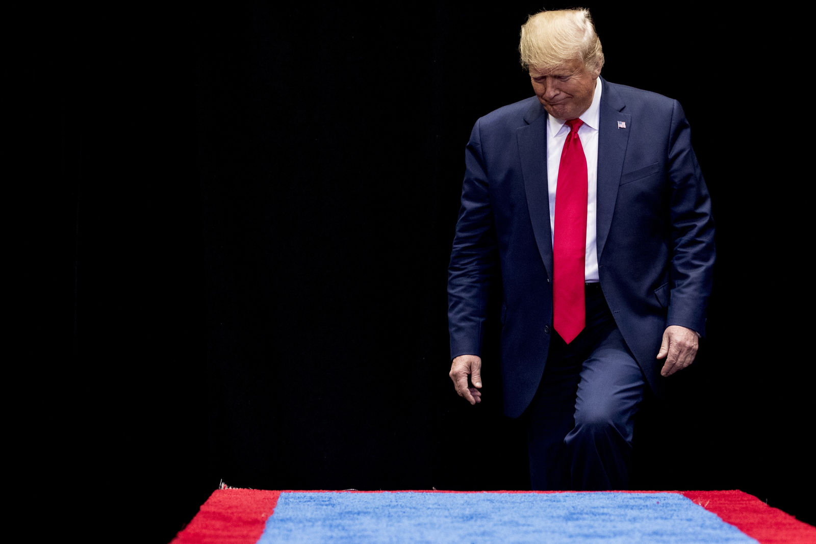President Donald Trump takes the stage at a campaign rally at American Airlines Arena in Dallas, Texas, Thursday, Oct. 17, 2019. (AP Photo/Andrew Harnik)