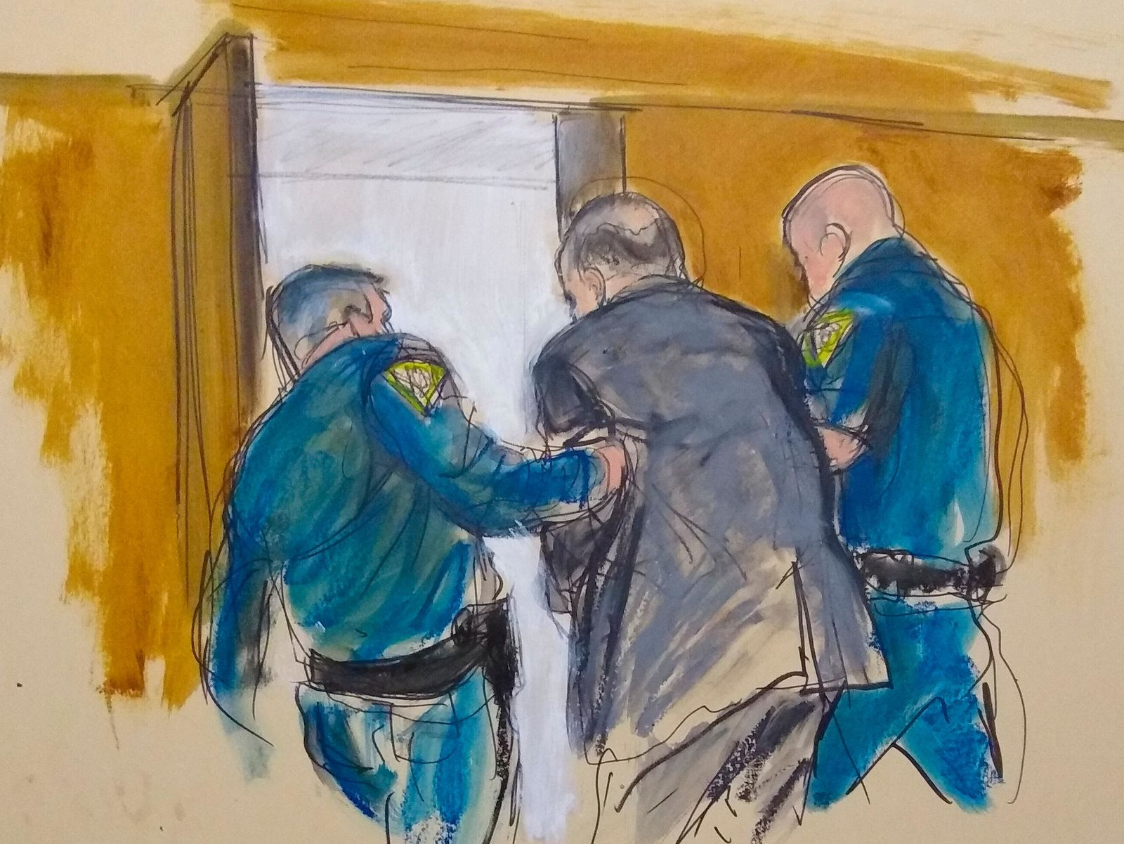 In this courtroom sketch, Harvey Weinstein, center, is led out of Manhattan Supreme Court by court officers after a jury convicted him of rape and sexual assault, Monday, Feb. 24, 2020 in New York. (Elizabeth Williams via AP)