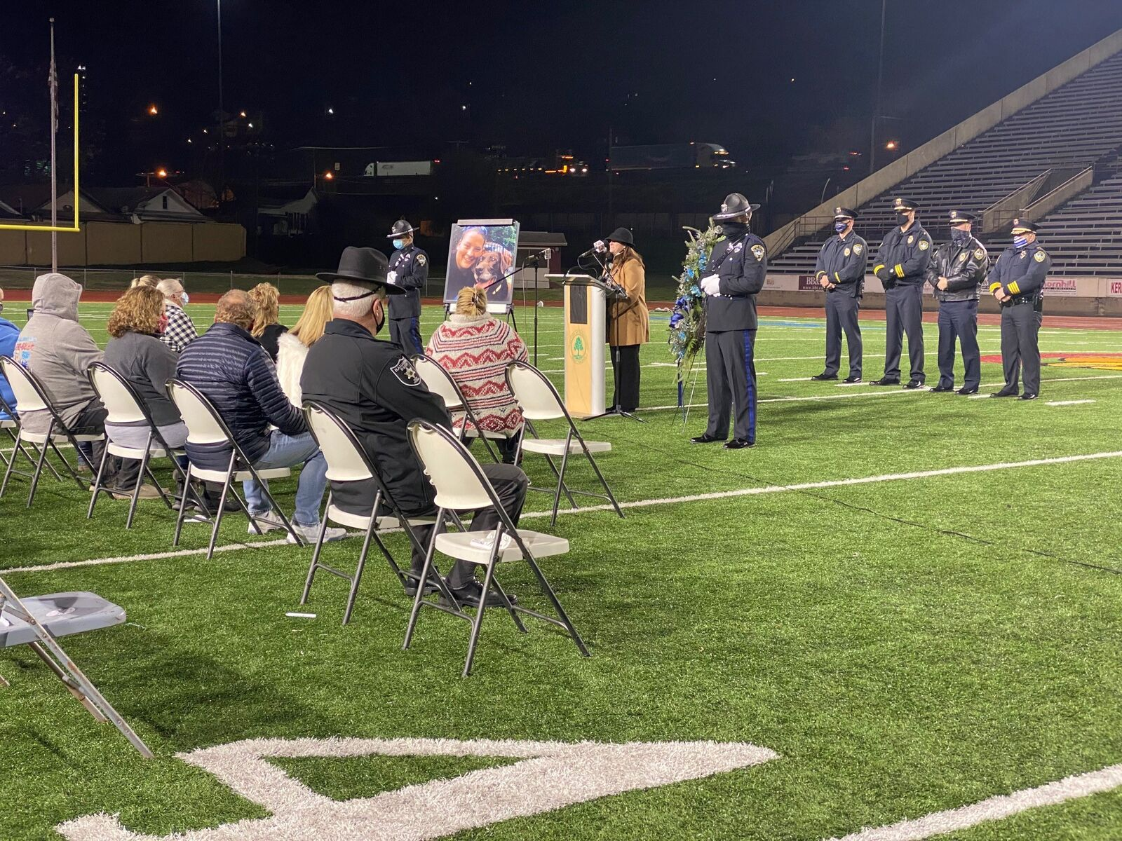 Charleston Mayor Amy Goodwin speaks to the crowd at a candlelight vigil for Officer Cassie Johnson. (WCHS/WVAH)