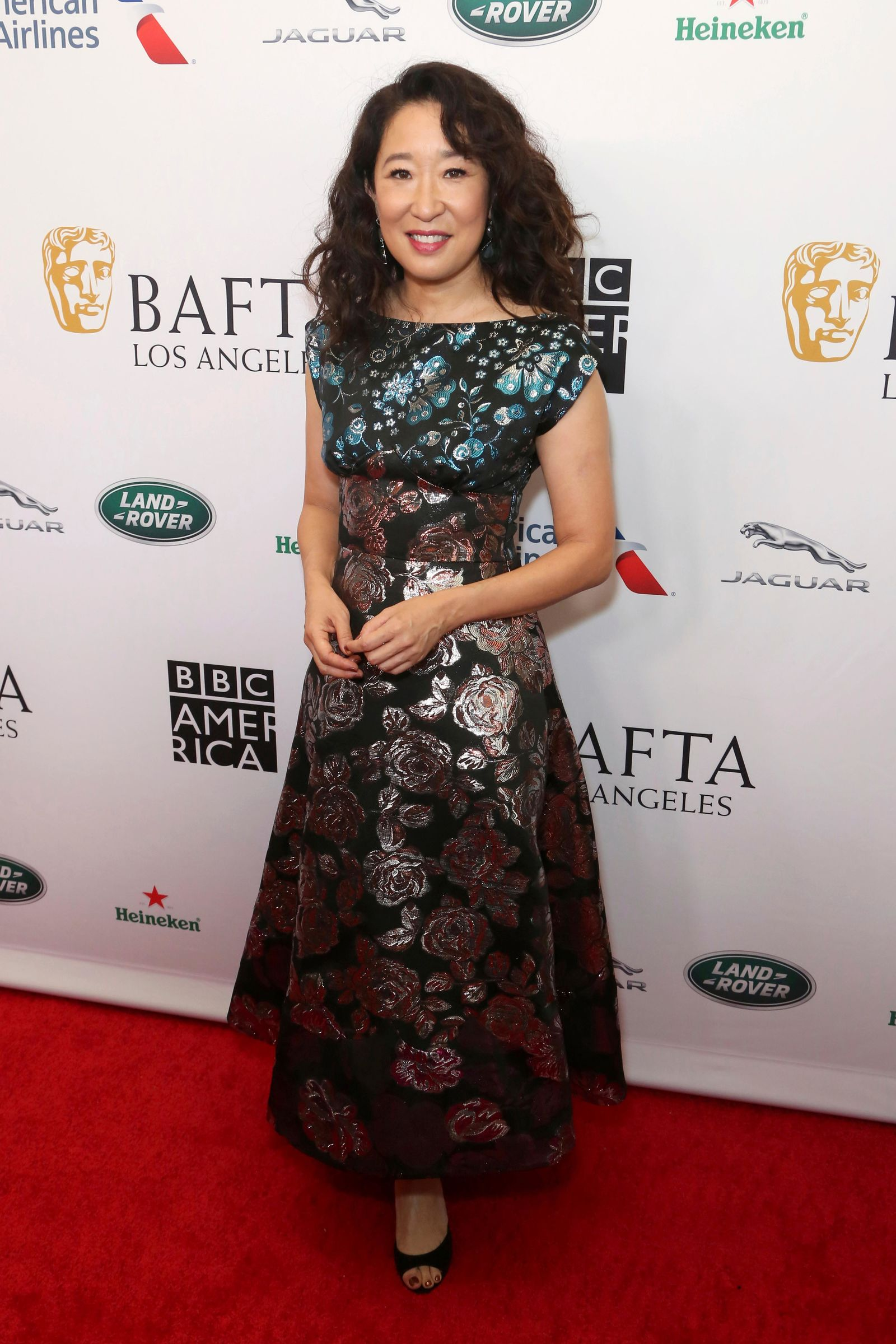 Sandra Oh arrives at the 2019 Primetime Emmy Awards - BAFTA Los Angeles TV Tea Party at the Beverly Hilton on Saturday, Sept. 21, 2019, in Beverly Hills, Calif. (Photo by Willy Sanjuan/Invision/AP)