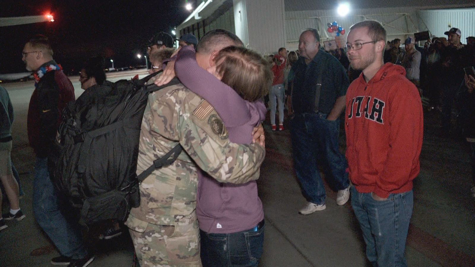 Just after midnight on Monday, more than 100 members of the Utah Air National Guard returned home. (Photo: KUTV)