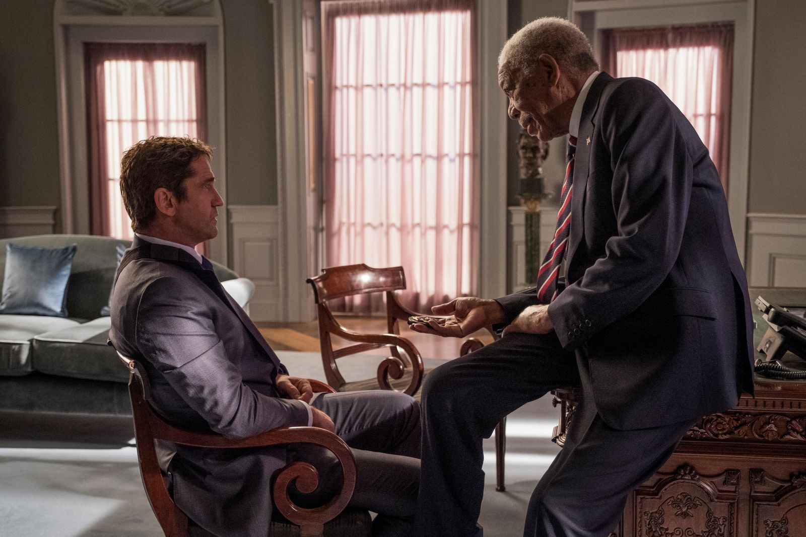 Morgan Freeman and Gerard Butler in Lionsgate's ANGEL HAS FALLEN (Photo: Lionsgate)