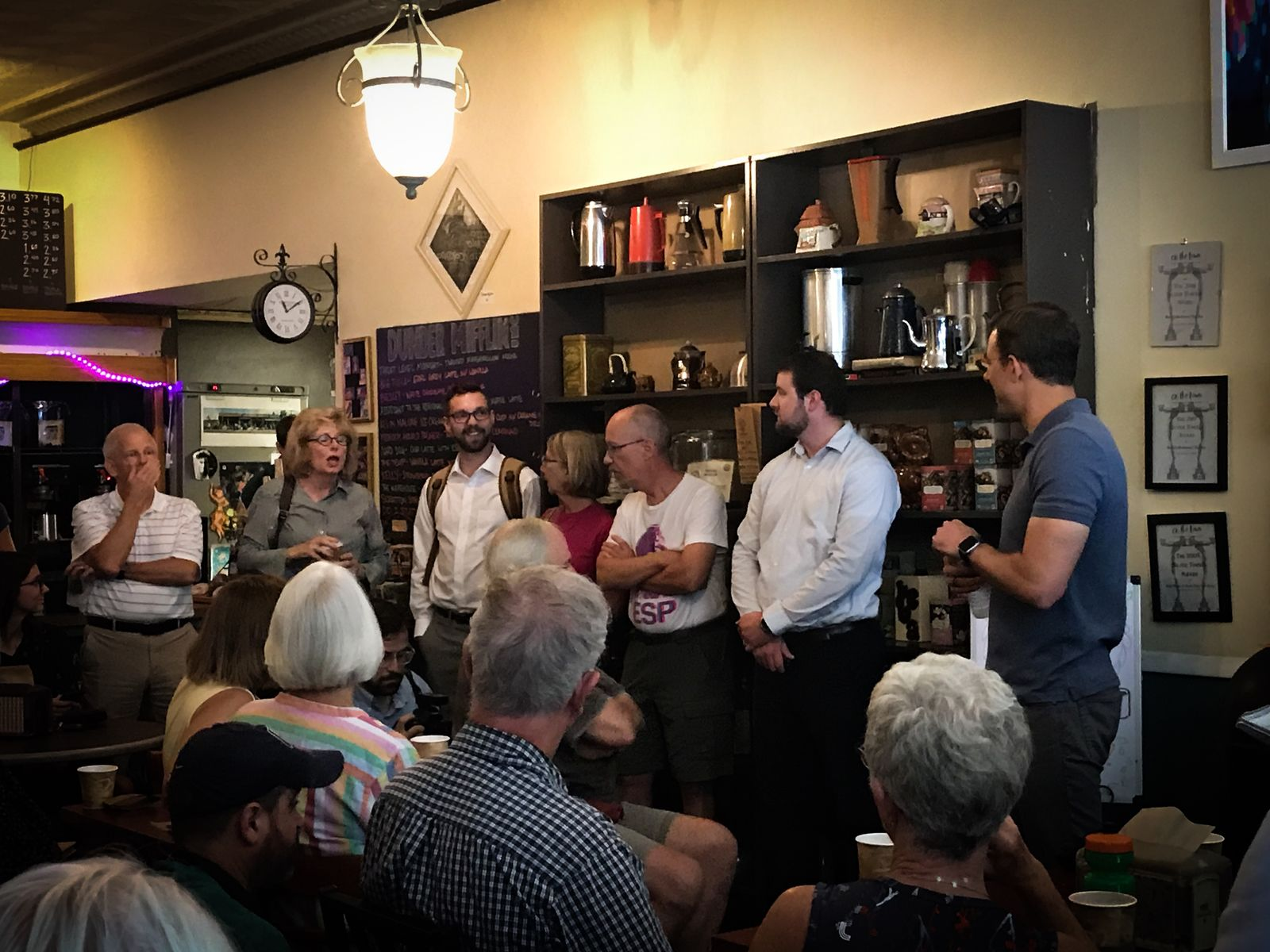 A crowd shows up at the Common Ground for one of Justin Amash's morning stops in Grand Rapids on Wednesday, Aug. 21, 2019. (WWMT/Mikenzie Frost)