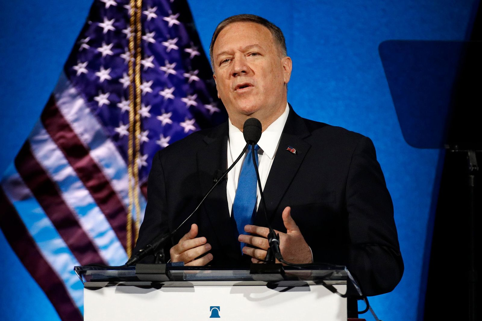 FILE - In this Oct. 22, 2019, file photo, Secretary of State Mike Pompeo speaks at the Heritage Foundation's annual President's Club Meeting in Washington. (AP Photo/Patrick Semansky, File)