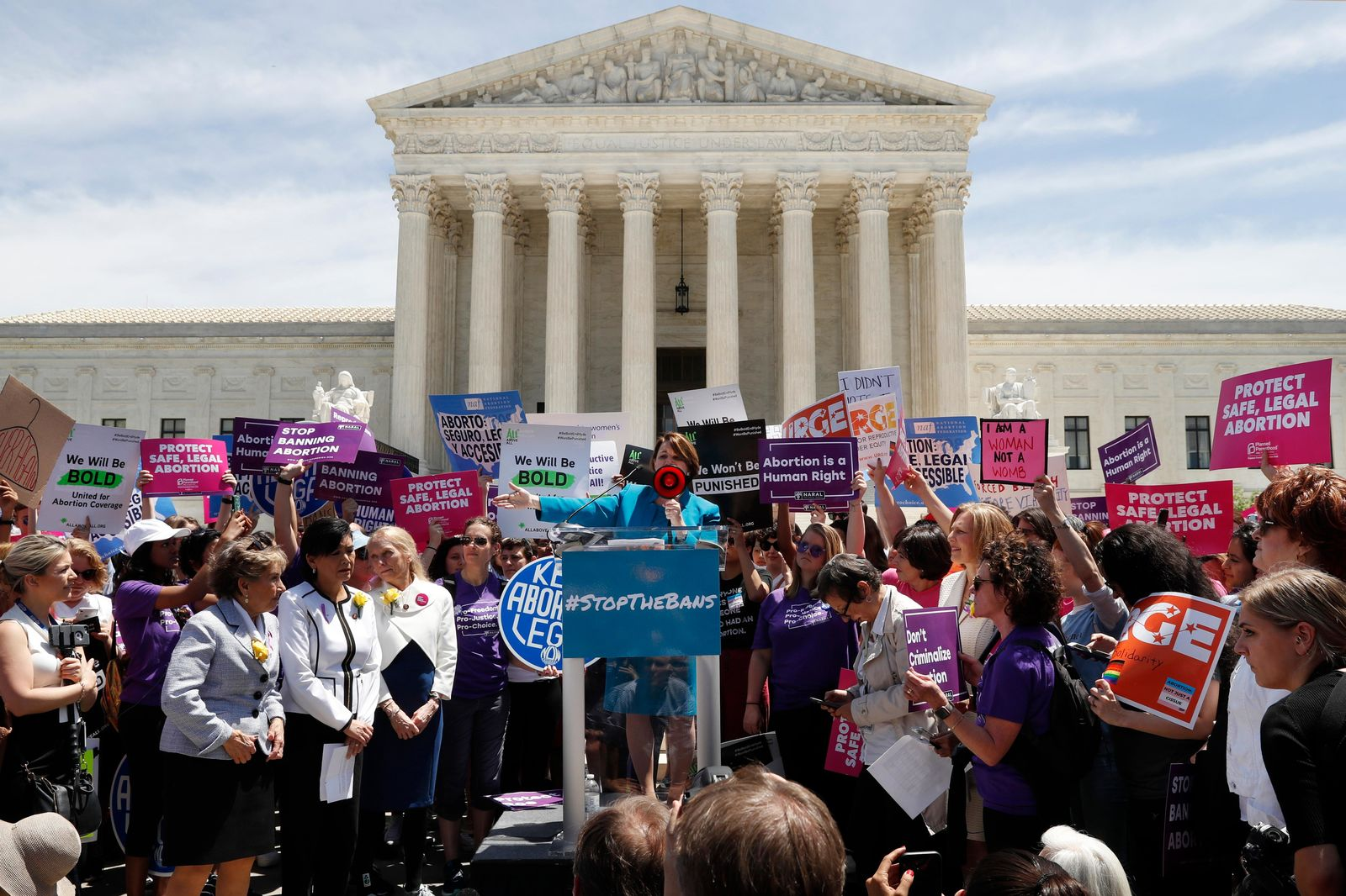 Democratic presidential candidate Sen. Amy Klobuchar, D-Minn., speaks during a protest against abortion bans, Tuesday, May 21, 2019, outside the Supreme Court in Washington. A coalition of dozens of groups held a National Day of Action to Stop the Bans, with other events planned throughout the week. (AP Photo/Jacquelyn Martin)