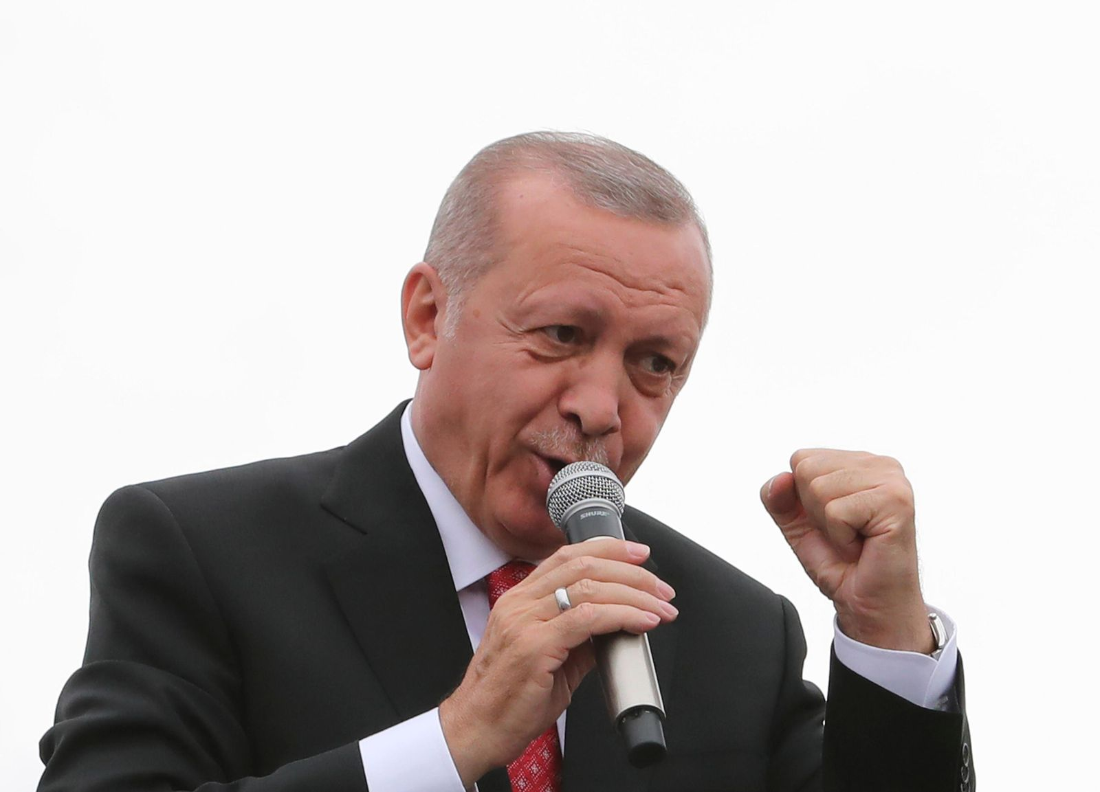 Turkey's President Recep Tayyip Erdogan, gestures as he talks during a campaign rally in Istanbul for the June 23 re-run of Istanbul elections, Wednesday, June 19, 2019.{ } (Presidential Press Service via AP, Pool)