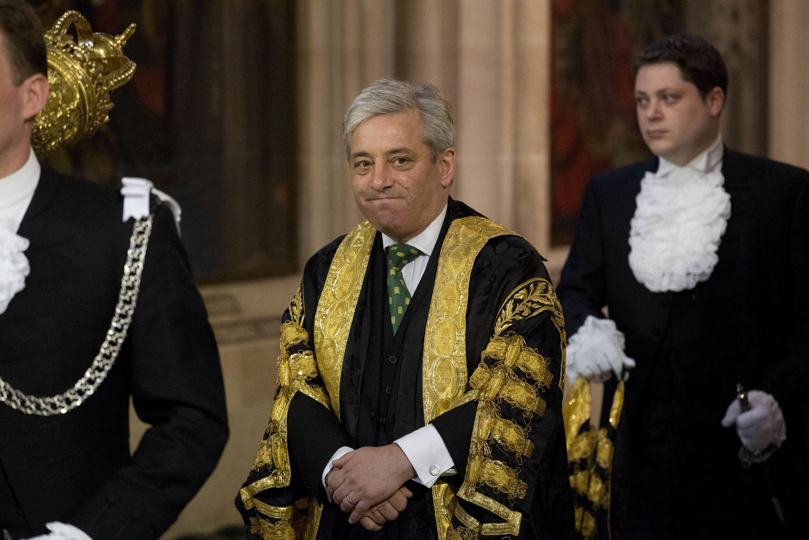 FILE - In this Wednesday, June 4, 2014 file photo, Britain's Speaker of the House of Commons John Bercow he walks through Central Lobby before Britain's Queen Elizabeth II delivered the Queen's Speech at the State Opening of Parliament at the Palace of Westminster in London. A colorful era in British parliamentary history is coming to a close with Speaker of the House John Bercow's abrupt announcement Monday, Sept. 9, 2019 that he will leave his influential post by the end of October.  (AP Photo/Matt Dunham, Pool, File)