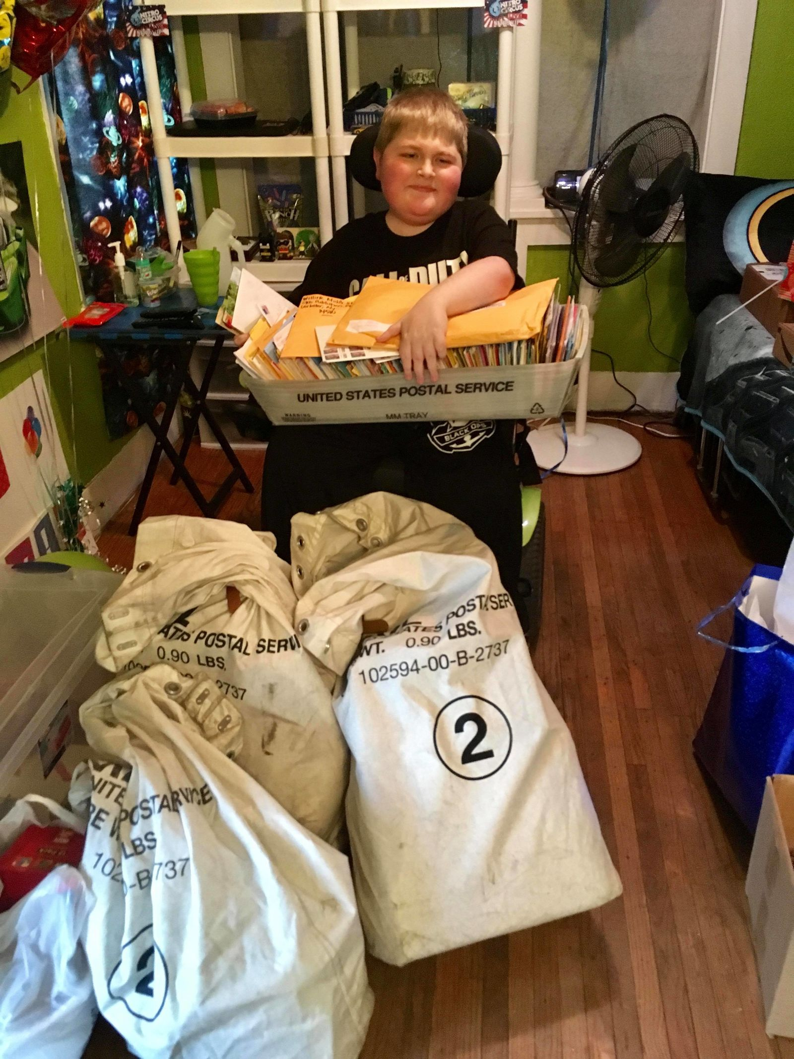 Just days after his aunt's Facebook post, Owen received bags and bags of cards (photo provided for WHAM)