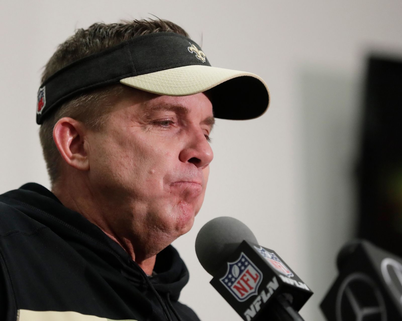 FILE - New Orleans Saints head coach Sean Payton speaks during a news conference after overtime of the NFL football NFC championship game against the Los Angeles Rams, Sunday, Jan. 20, 2019, in New Orleans. The Rams won 26-23.(AP Photo/Gerald Herbert)