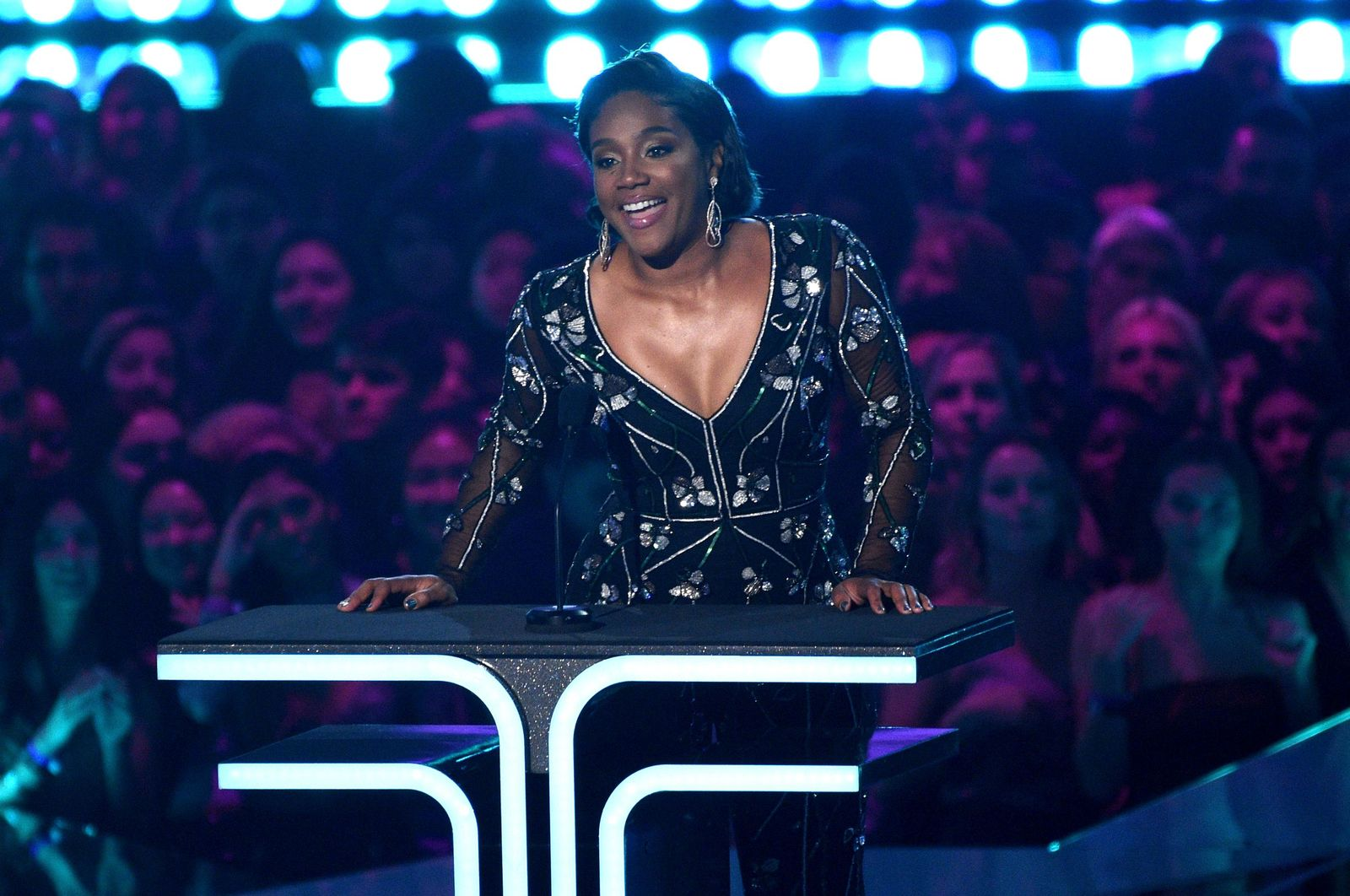Tiffany Haddish presents the trailblazer award at the MTV Movie and TV Awards on Saturday, June 15, 2019, at the Barker Hangar in Santa Monica, Calif. (Photo by Chris Pizzello/Invision/AP)