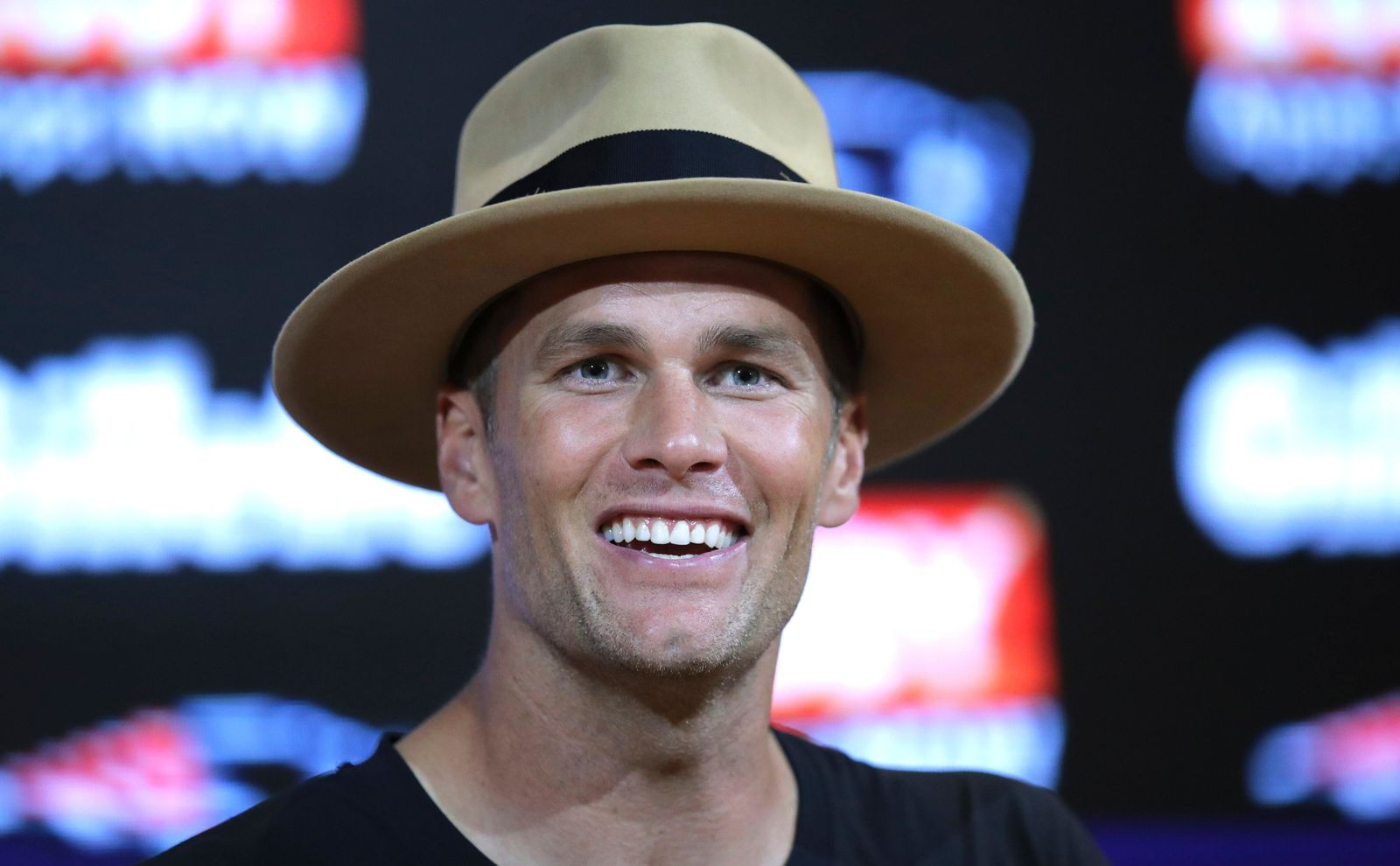 New England Patriots quarterback Tom Brady speaks to the media following an NFL preseason football game against the Carolina Panthers, Thursday, Aug. 22, 2019, in Foxborough, Mass. (AP Photo/Charles Krupa)