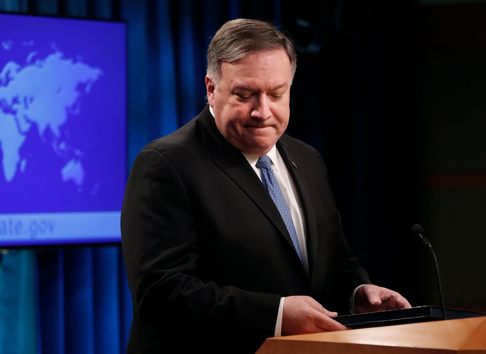 Secretary of State Mike Pompeo turns from the podium after speaking at a news conference at the State Department in Washington, Wednesday, April 17, 2019.(AP Photo/Pablo Martinez Monsivais)