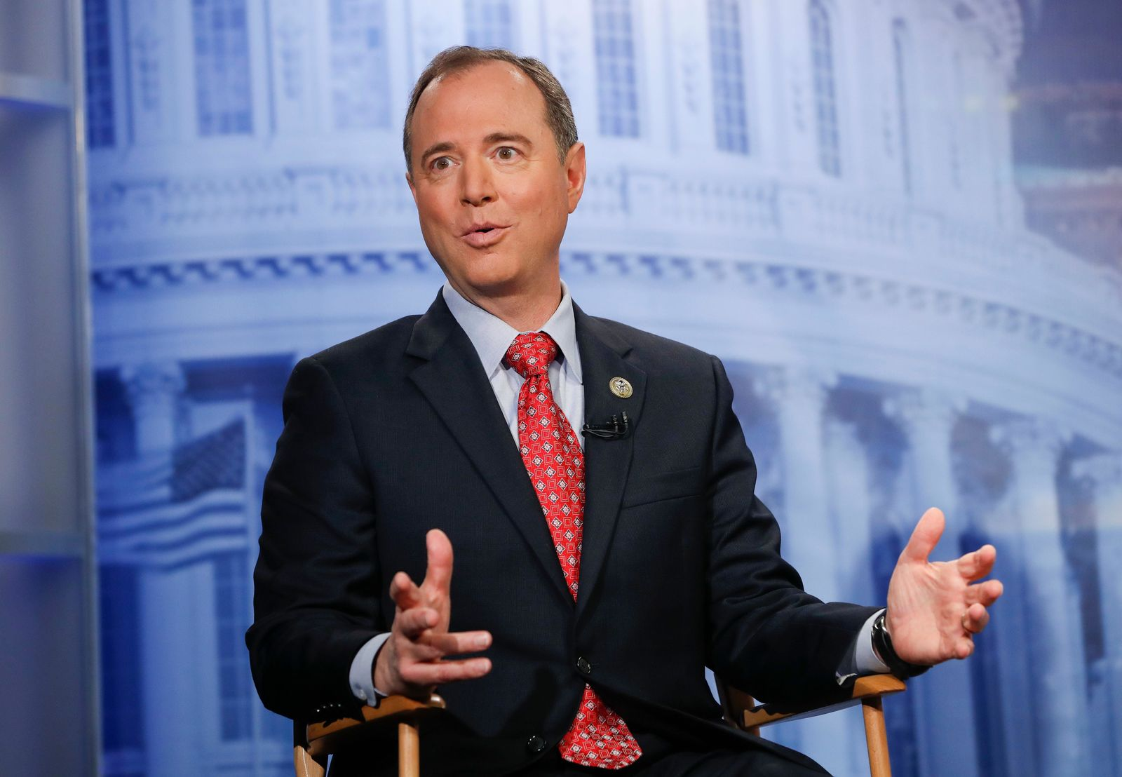 FILE - In this Nov. 7, 2017 file photo, Rep. Adam Schiff, D-Calf., answers questions during an interview at the Associated Press bureau in Washington. (AP Photo/Pablo Martinez Monsivais )