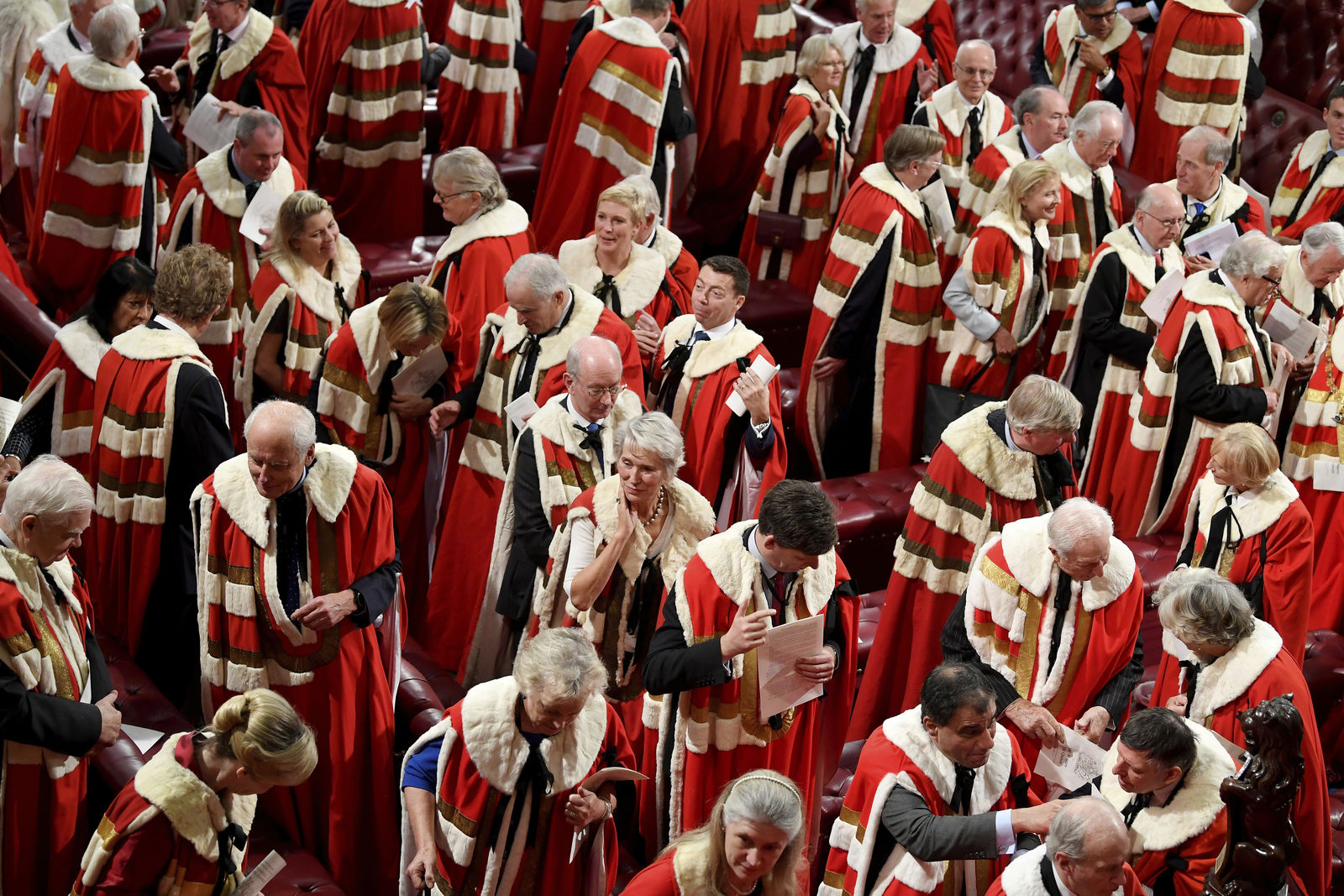 Guests in the House of Lords attend the official State Opening of Parliament in London, Monday Oct. 14, 2019. (Toby Melville/Pool via AP)