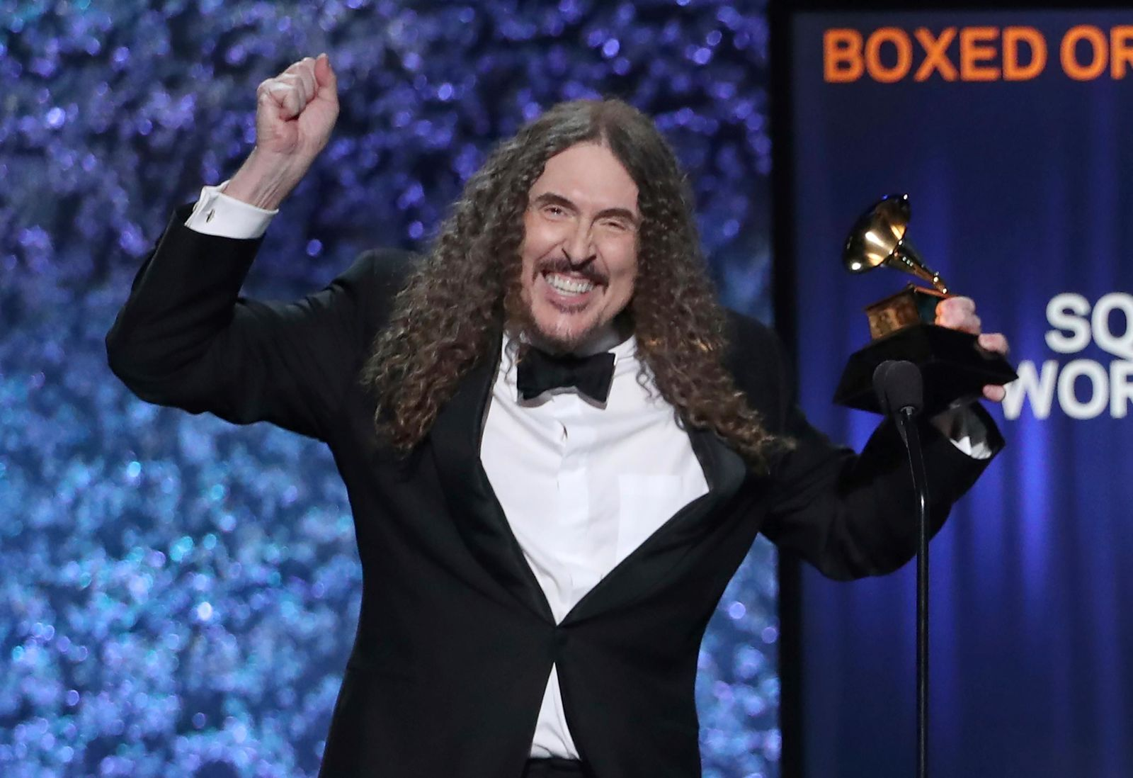 """Weird Al"" Yankovic accepts the award for best boxed or special limited edition package for ""Squeeze Box: The Complete Works of 'Weird Al' Yankovic"" at the 61st annual Grammy Awards on Sunday, Feb. 10, 2019, in Los Angeles. (Photo by Matt Sayles/Invision/AP)"