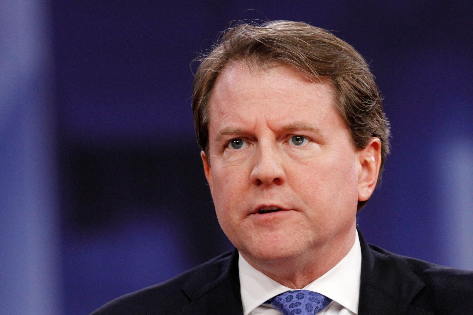 FILE - In this Feb. 22, 2018, file photo White House counsel Don McGahn speaks at the Conservative Political Action Conference (CPAC), at National Harbor, Md. McGahn was barely on speaking terms with President Donald Trump when he left the White House last fall. . (AP Photo/Jacquelyn Martin, File)