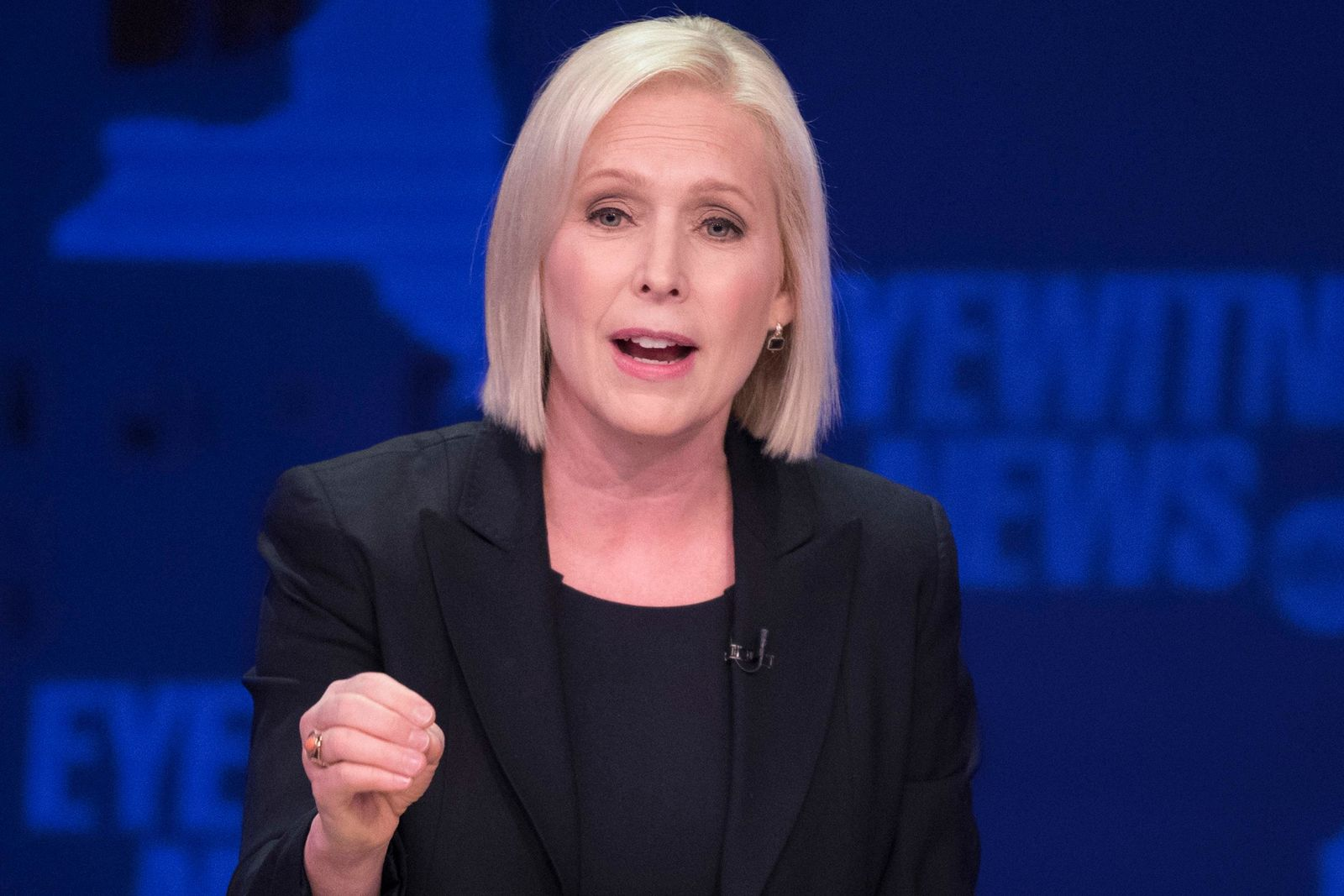 FILE - In this Oct. 25, 2018 file photo, Sen. Kirsten Gillibrand, D-N.Y., speaks during the New York Senate debate hosted by WABC-TV, in New York. (AP Photo/Mary Altaffer, Pool, File)
