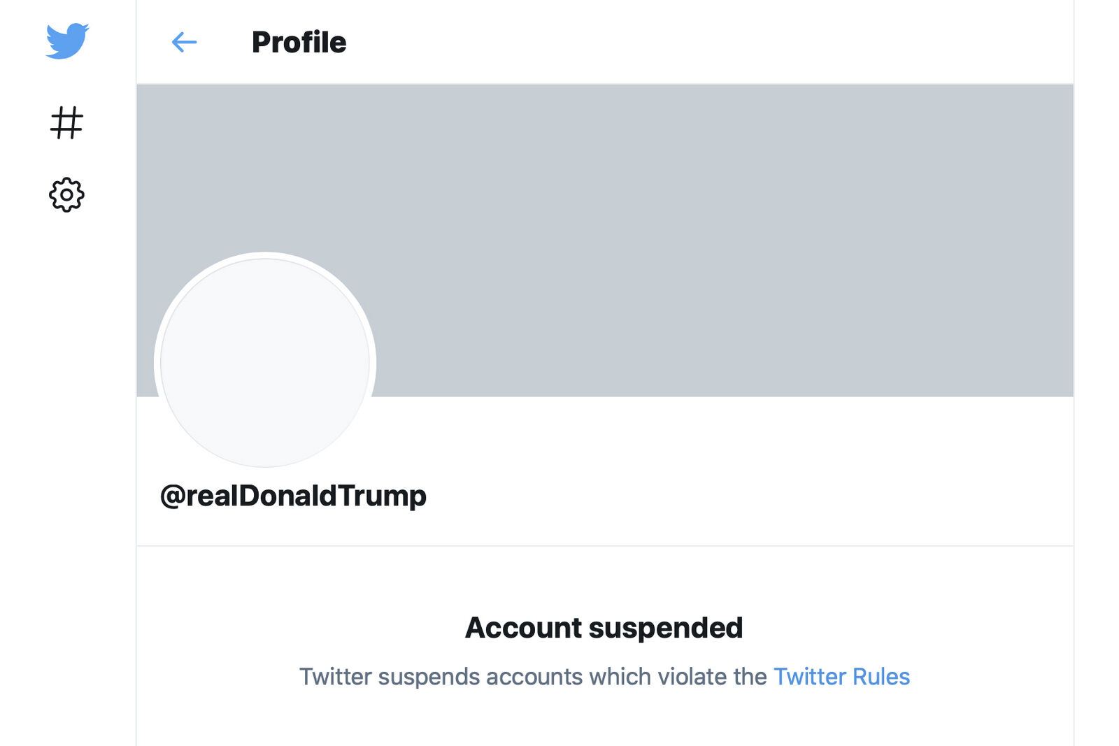 "This Friday, Jan. 8, 2021 image shows the suspended Twitter account of President Donald Trump. On Friday, the social media company permanently suspended Trump from its platform, citing ""risk of further incitement of violence."" (AP Photo)"