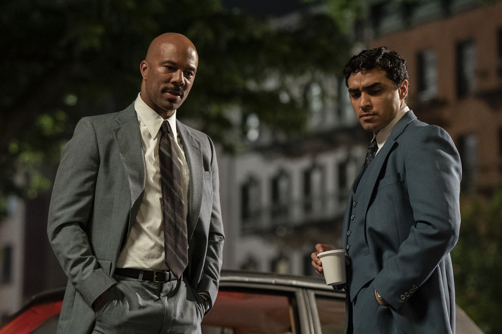 "(L-r) COMMON as FBI Agent Silvers and E.J. BONILLA as FBI Agent Gonzo in New Line Cinema's mob drama ""The Kitchen,"" a Warner Bros. Pictures release."