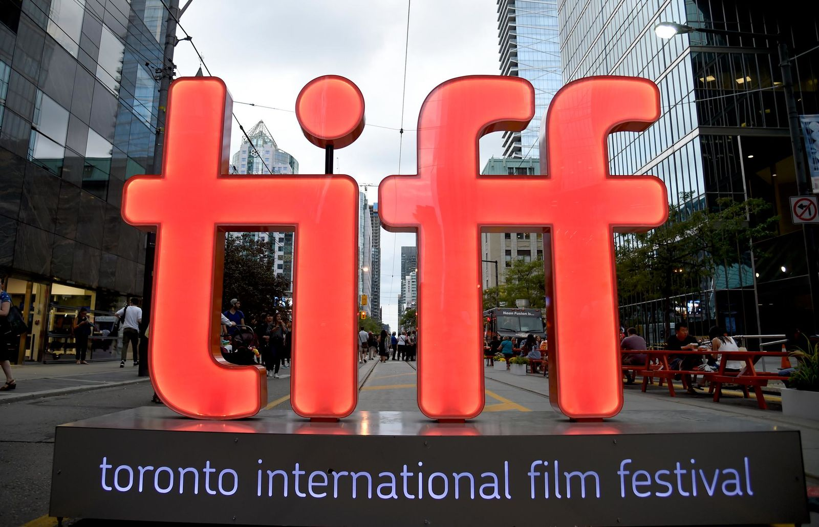 FILE - In this Thursday, Sept. 6, 2018, file photo, a view of a festival sign appears on Day 1 of the Toronto International Film Festival in Toronto. (Photo by Chris Pizzello/Invision/AP, File)