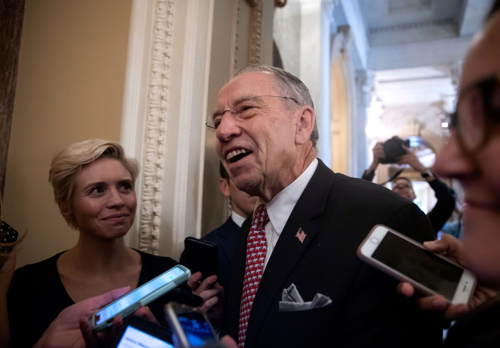 Senate Judiciary Committee Chairman Chuck Grassley, R-Iowa, speaks to reporters as he leaves the chamber following a procedural vote.{ } (AP Photo/J. Scott Applewhite)