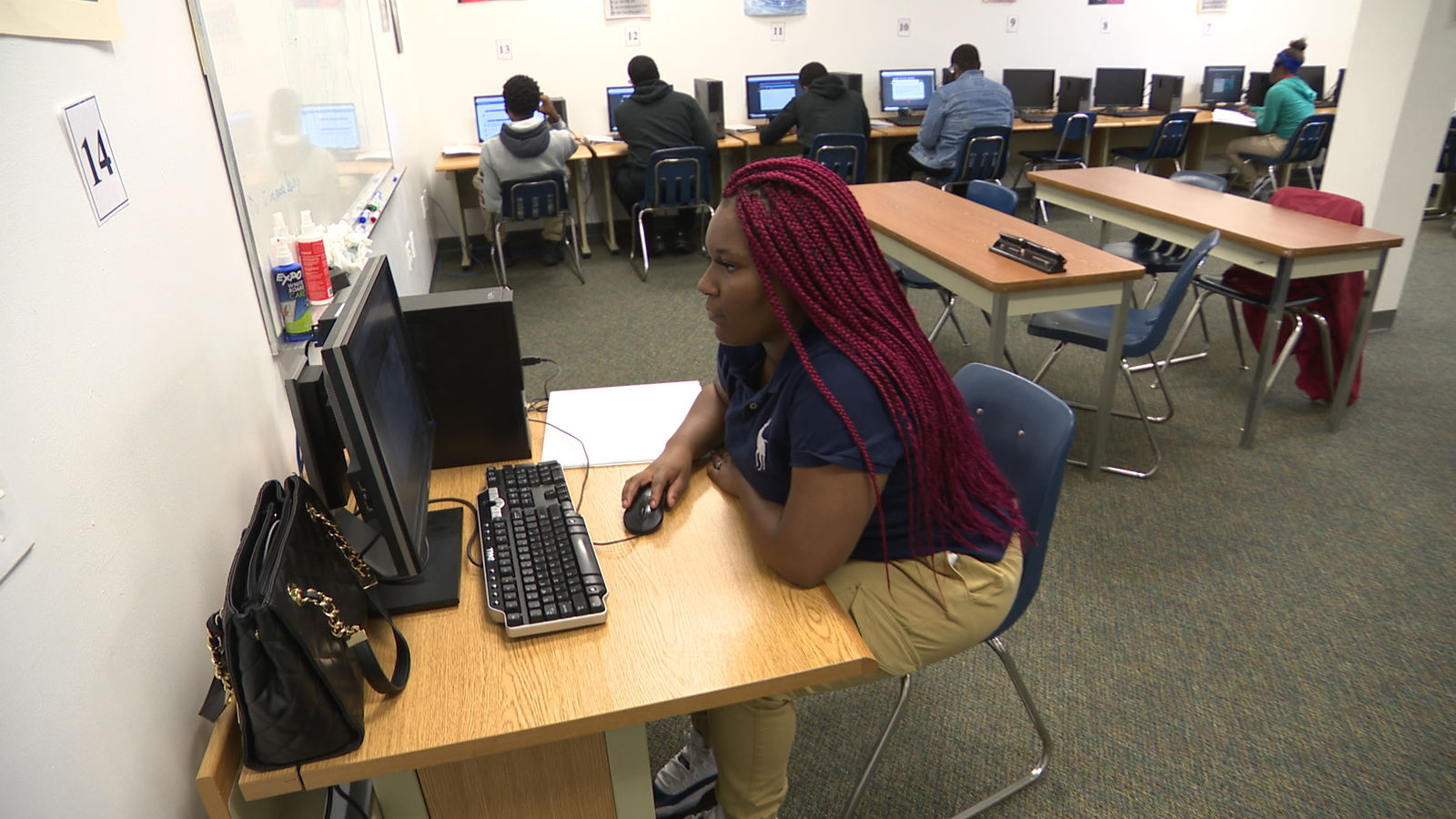 Adrienne Bowman, a student in the Jennings School District, works on a classroom project (Photo: Alex Brauer, Sinclair Broadcast Group)
