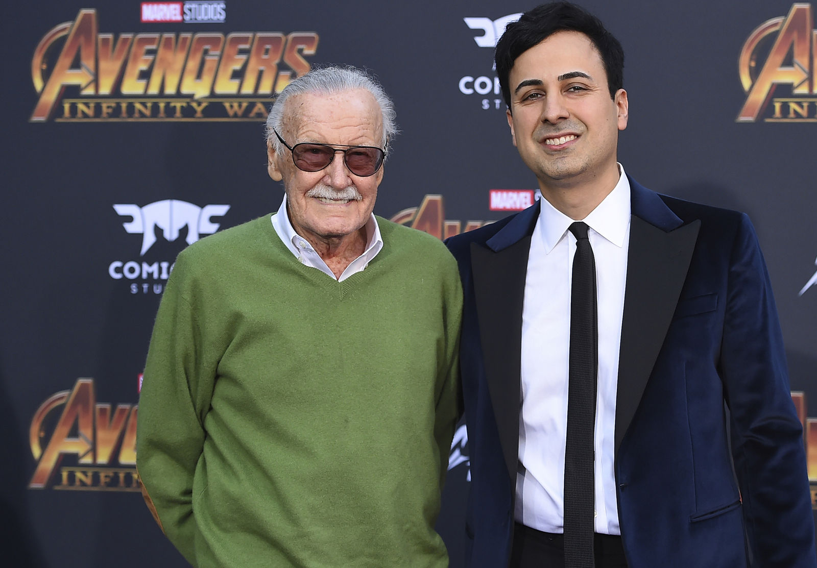 "FILE - In this April 23, 2018, file photo, Stan Lee, left, and Keya Morgan arrive at the world premiere of ""Avengers: Infinity War"" in Los Angeles. Morgan, the former business manager of Lee has been arrested on elder abuse charges involving the late comic book icon.{ } (Photo by Jordan Strauss/Invision/AP, File)"