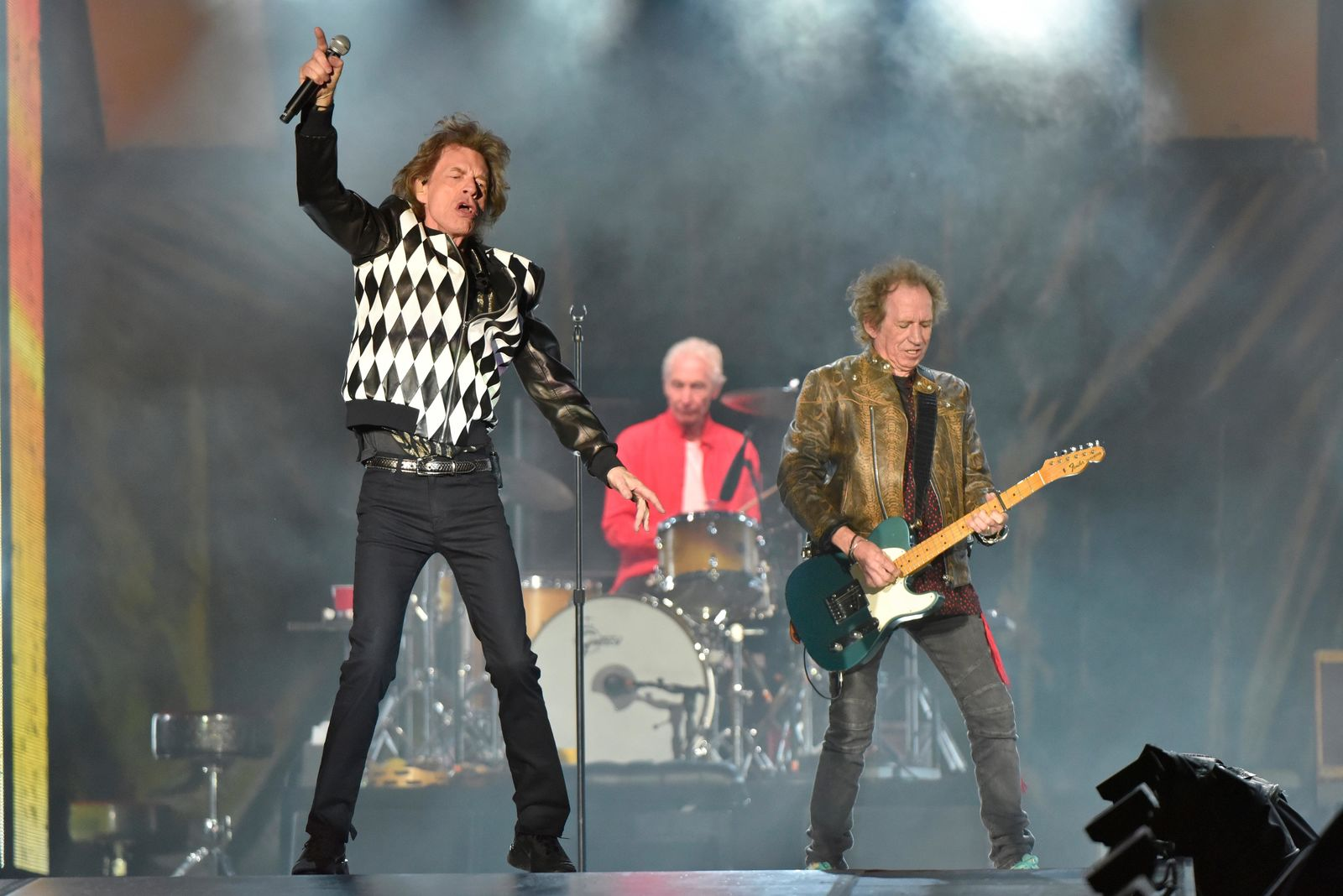 "Mick Jagger, from left, Charlie Watts, and Keith Richards of The Rolling Stones performs during the ""No Filter"" tour at Soldier Field on Friday, June 21, 2019, in Chicago. (Photo by Rob Grabowski/Invision/AP)"