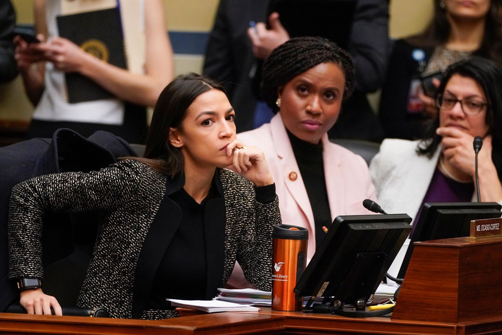 House Oversight and Reform Committee members, from left, Rep. Alexandria Ocasio-Cortez, D-N.Y., Rep. Ayanna Pressley, D-Mass., and Rep. Rashida Tlaib, D-Mich., listen during a committee hearing on Capitol Hill in Washington, Tuesday, Feb. 26, 2019. The committee voted to subpoena Trump administration officials over family separations at the southern border, the first issued in the new Congress as Democrats have promised to hold the administration aggressively to count.The decision by the Oversight Committee will compel the heads of Justice, Homeland Security and Health and Human Services to deliver documents.  (AP Photo/J. Scott Applewhite)