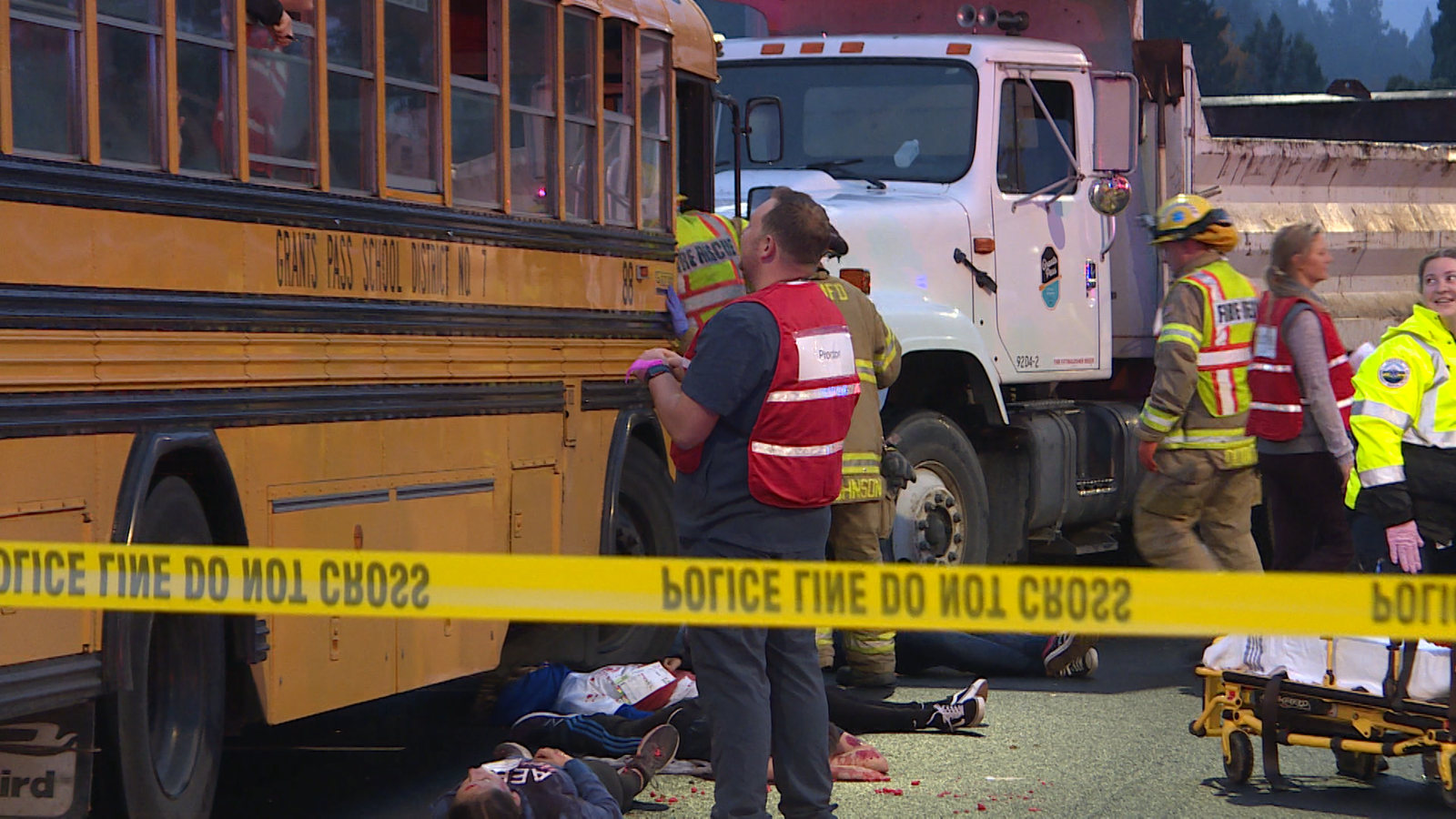 Outside of bus at the emergency drill (Shelby Reilly/News 10).{&nbsp;}<p></p><p></p><p></p>
